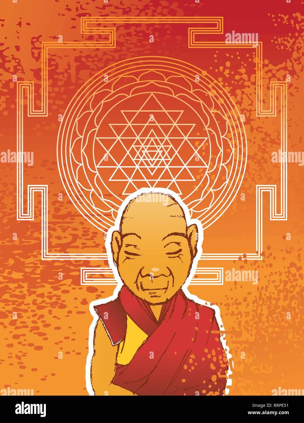 Buddhist monk - Stock Vector