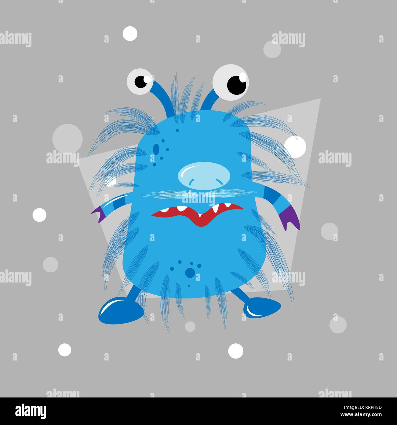 cartoon cool fat monster. vector monster character 10 eps - Stock Image