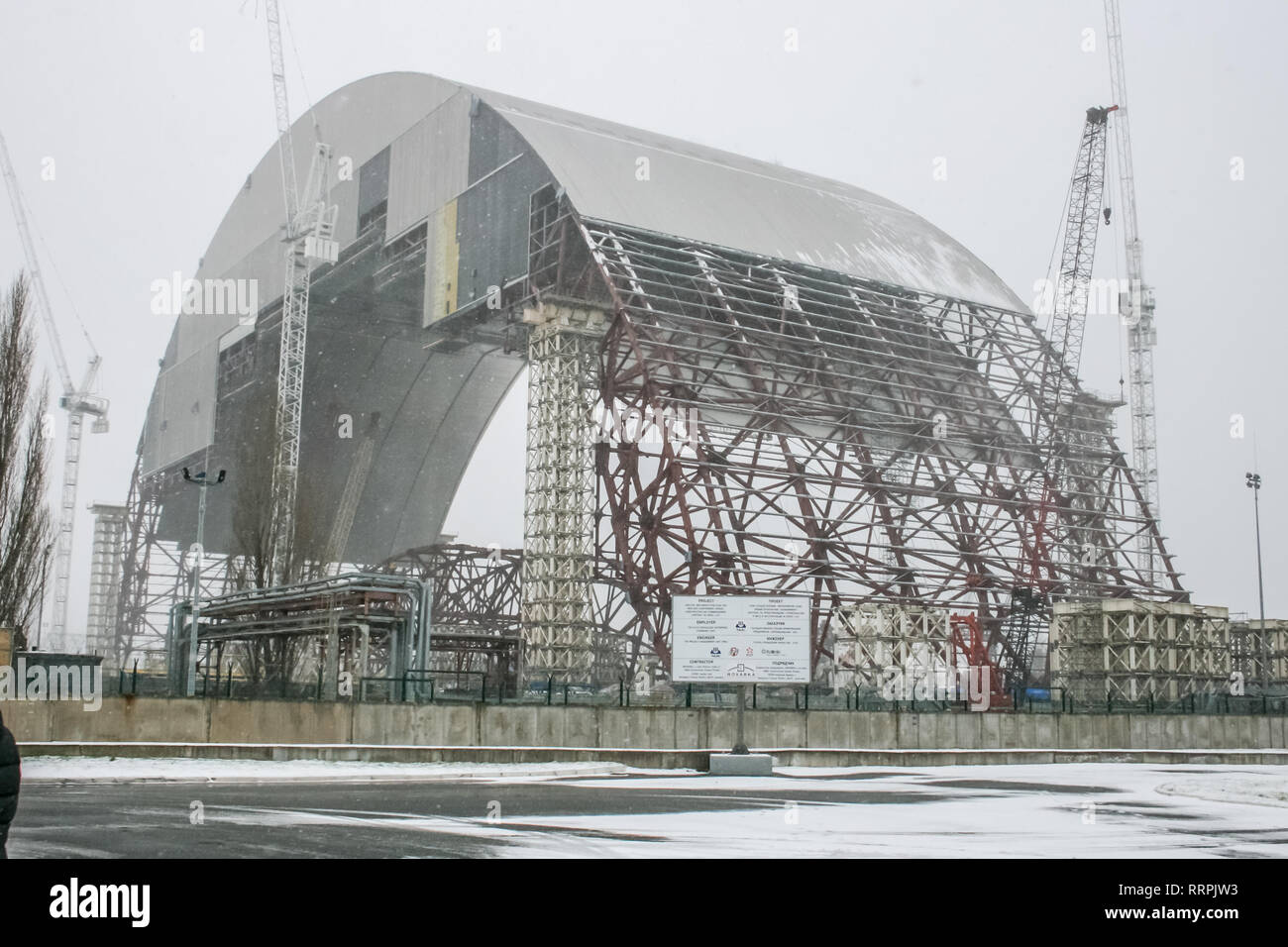 Chernobyl nuclear power plant and sarcophagus  Pripyat, the
