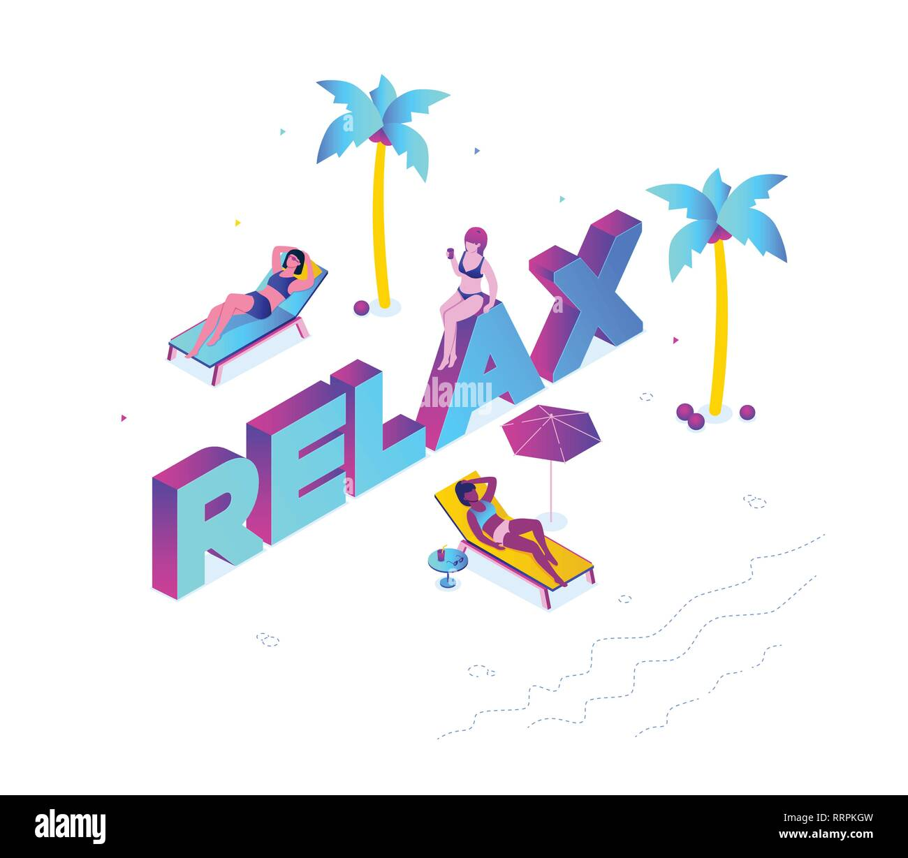 Relaxation concept - modern colorful isometric vector illustration - Stock Vector