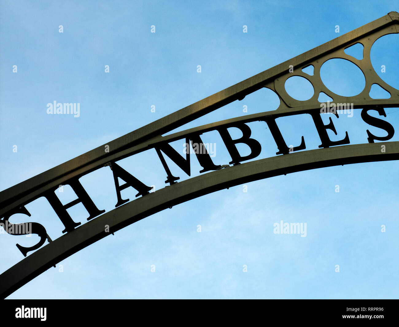 Shambles sign at the entrance to Newgate Market City of York Yorkshire England - Stock Image