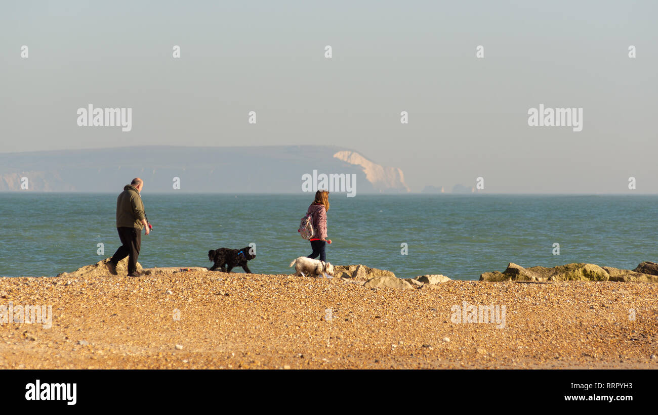 Hengistbury Head, Christchurch, Dorset, UK, 26th February 2019, Weather: People walk with their dogs along the pebbly beach of the coastal spit this afternoon in unusually high temperatures for February. Even with an onshore breeze, with warm air coming up from the south, 15 degrees centigrade has been reached in this record breaking spell of winter weather for the UK. Credit: Paul Biggins/Alamy Live News - Stock Image