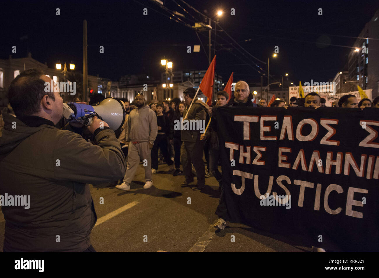 Athens, Greece. 26th Feb, 2019. Leftist and anti-racist organizations protest over Ebuka's death. Ebuca Mama Subek, a 34 year old Nigerian migrant, married and father of two children, died while in custody in the Omonia police station in the center of Athens, a police station with a long history of torture, abuse and unexplained deaths cases. Credit: Nikolas Georgiou/ZUMA Wire/Alamy Live News - Stock Image
