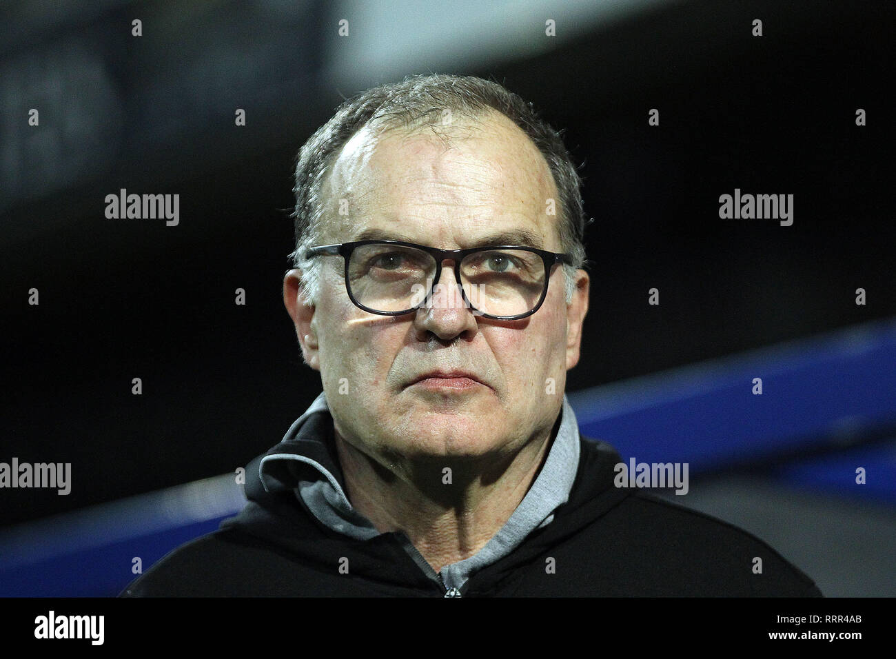 London, UK. 26th Feb, 2019. Leeds United Manager Marcelo Bielsa looks on. EFL Skybet championship match, Queens Park Rangers v Leeds United at Loftus Road Stadium in London on Tuesday 26th February 2019. this image may only be used for Editorial purposes. Editorial use only, license required for commercial use. No use in betting, games or a single club/league/player publications. pic by Steffan Bowen/Andrew Orchard sports photography/Alamy Live news Credit: Andrew Orchard sports photography/Alamy Live News Stock Photo