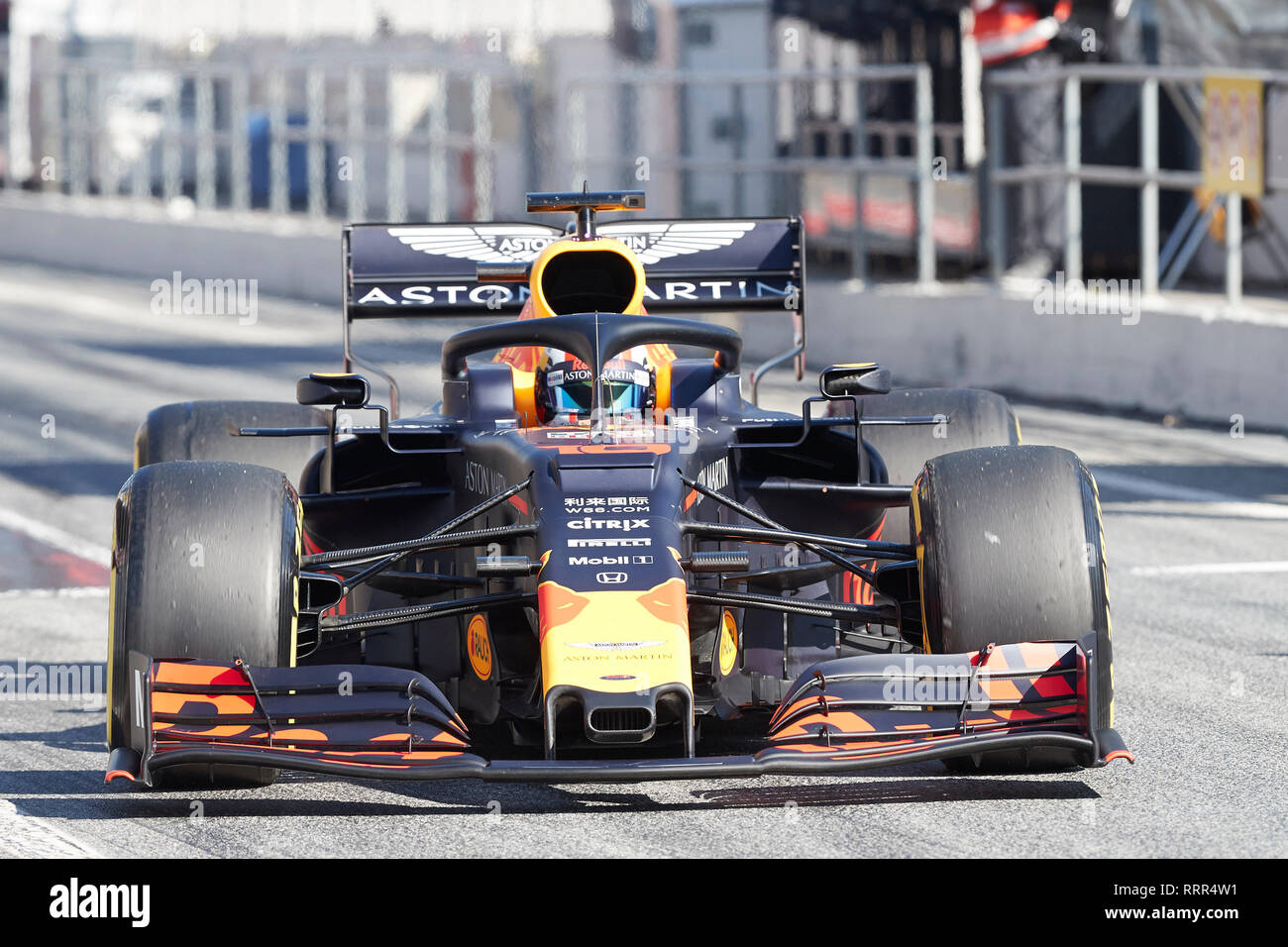 Pierre Gasly Aston Martin Red Bull Racing Rd15 Car Seen In Action During The Winter Testing Days At The Circuit De Catalunya In Montmelo Catalonia Stock Photo Alamy