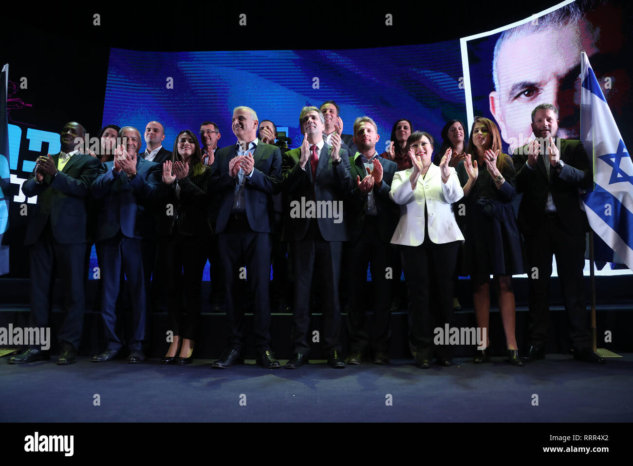 Rishon Lezion, Israel. 26th Feb, 2019. Israeli Finance Minister and head of the Kulanu party Moshe Kahlon attends a conference of the Kulanu party, presenting the list of candidates, in Rishon Lezion, Israel, on Feb. 26, 2019. Credit: JINI/Gideon Markowicz/Xinhua/Alamy Live News - Stock Image