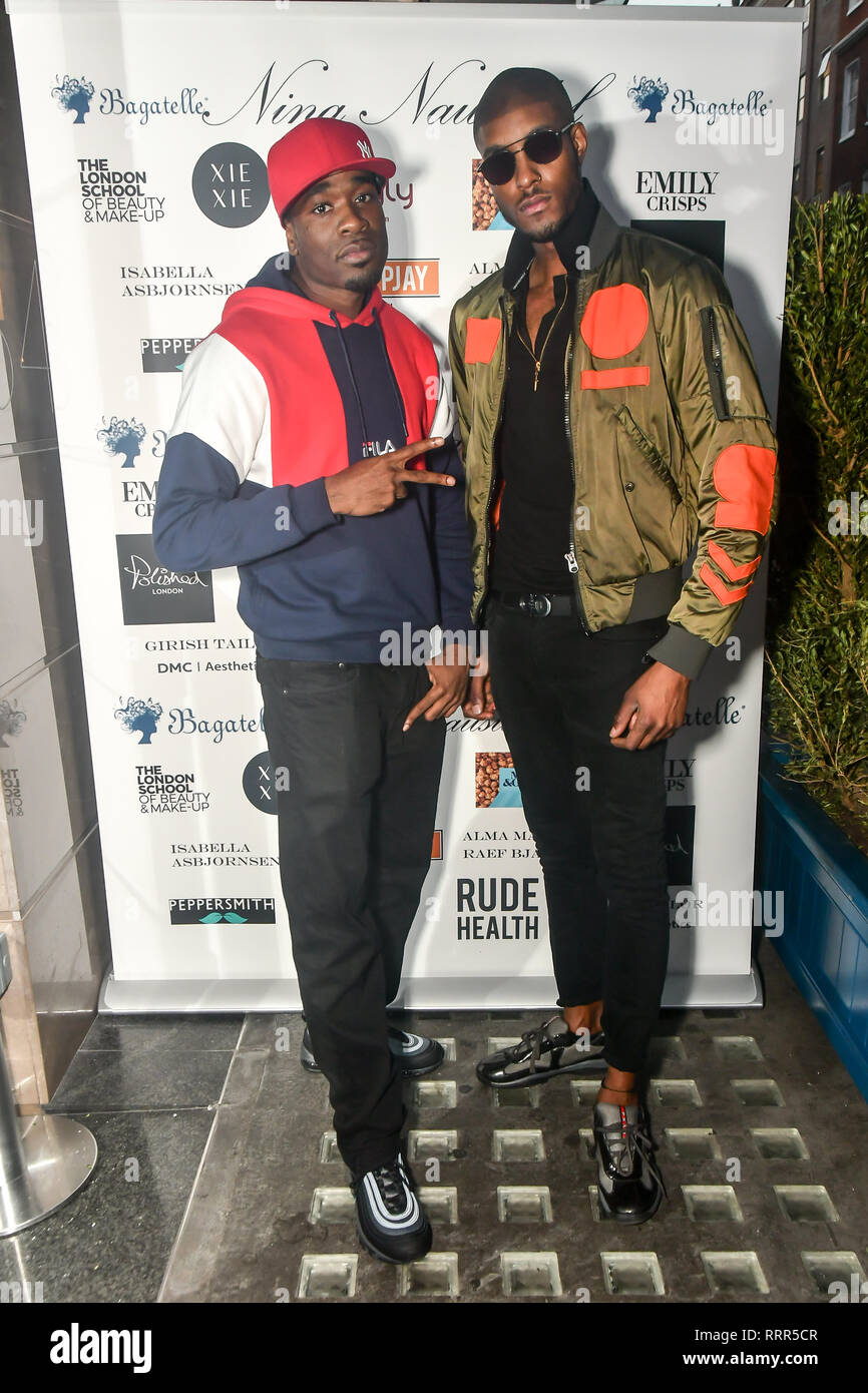 London, UK. 26th Feb 2019. D-Jukes ,Stefan-Pierre Tomlin Arrivers at Nina Naustdal catwalk show SS19/20 collection by The London School of Beauty & Make-up at Bagatelle on 26 Feb 2019, London, UK. Credit: Picture Capital/Alamy Live News Stock Photo