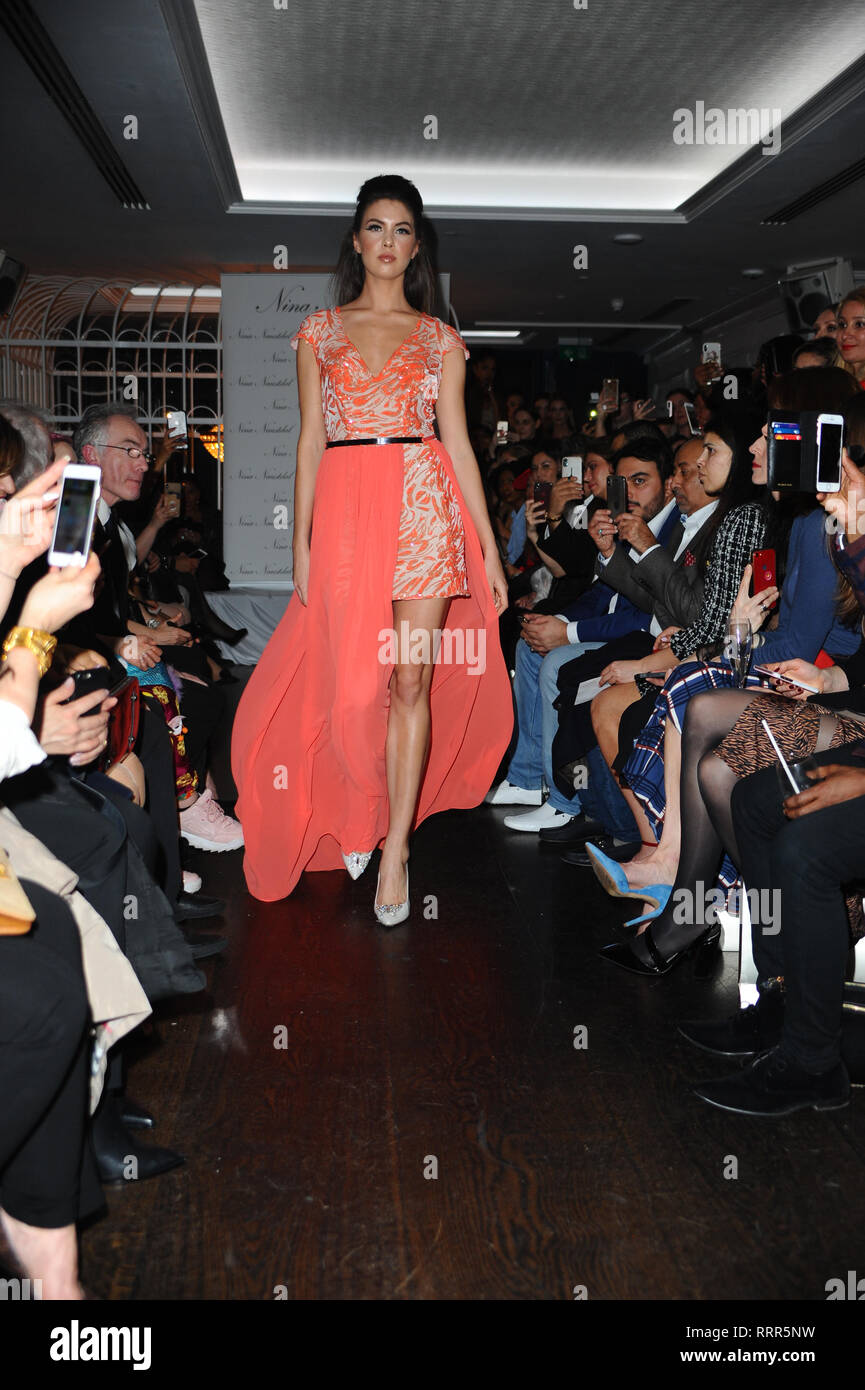 A model seen showcasing during the LFW Nina Naustdal s/s19 catwalk show. Designer previews its spring/summer 2019/2020 collection which was Hosted at Bagatelle, 34 Dover St, Mayfair in London. Stock Photo