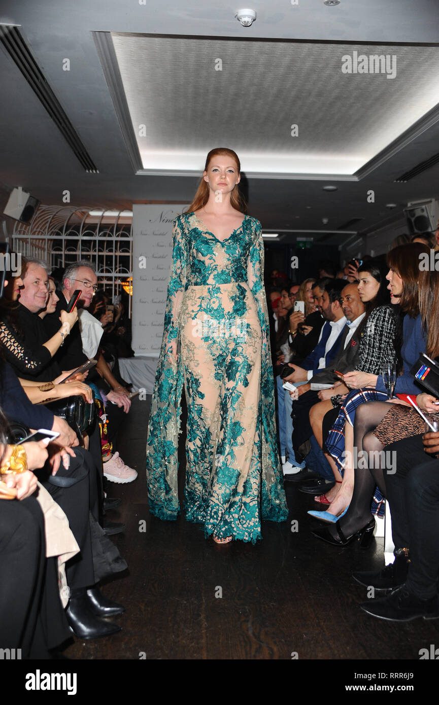 London, UK. 26th Feb, 2019. A model seen showcasing during the LFW Nina Naustdal s/s19 catwalk show. Designer previews its spring/summer 2019/2020 collection which was Hosted at Bagatelle, 34 Dover St, Mayfair in London. Credit: Terry Scott/SOPA Images/ZUMA Wire/Alamy Live News Stock Photo