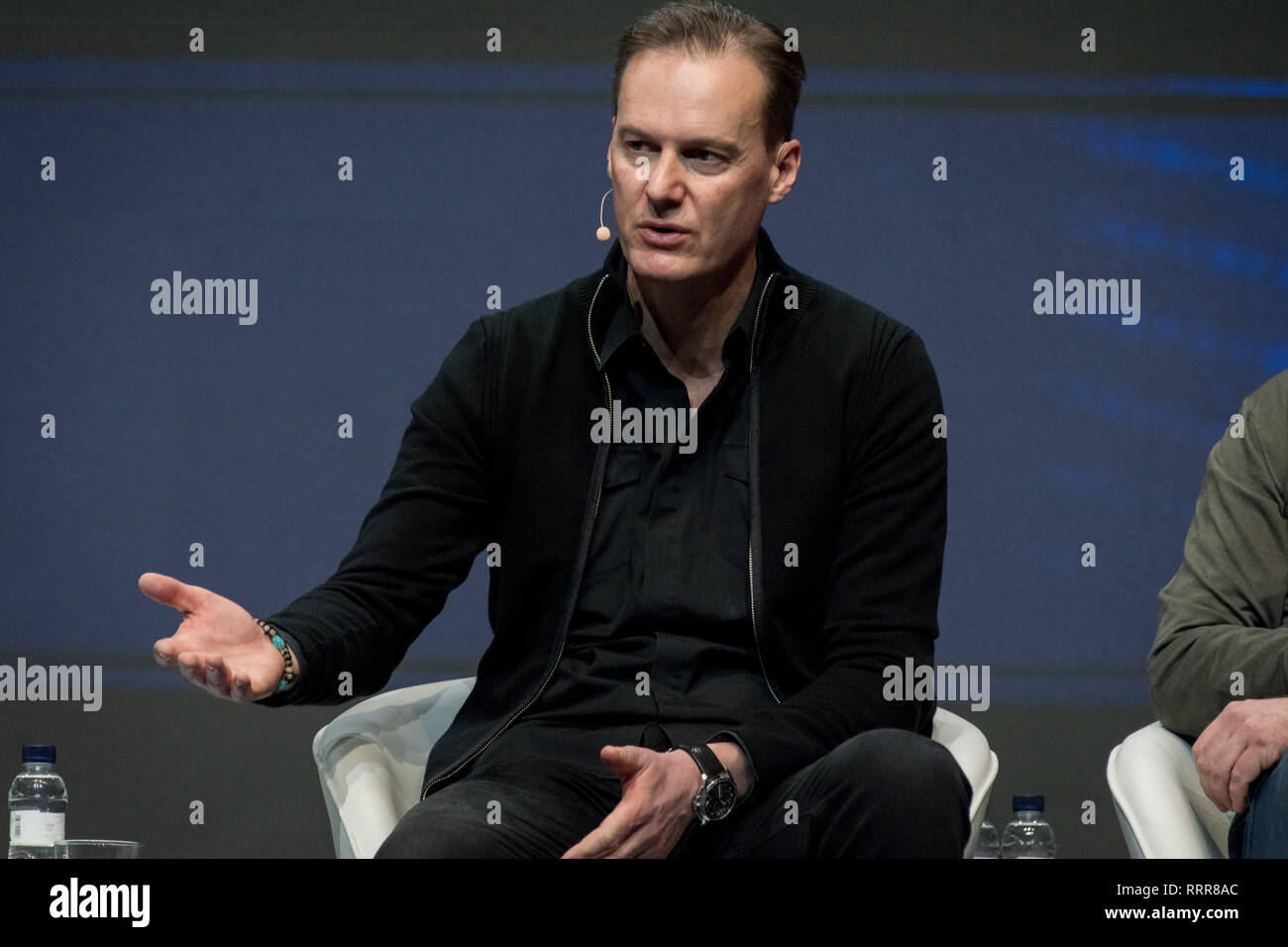 Barcelona, Spain. 26th Feb 2019. February 26, 2019 - Barcelona, Catalonia, Spain -  Jörg Reimann of  BMW Group  speaks during a conference at GSMA Mobile World Congress 2019 in Barcelona, the world's most important event on mobile devices communications bringing together the leading companies and the latest developments in the sector. Credit:  Jordi Boixareu/Alamy Live News - Stock Image