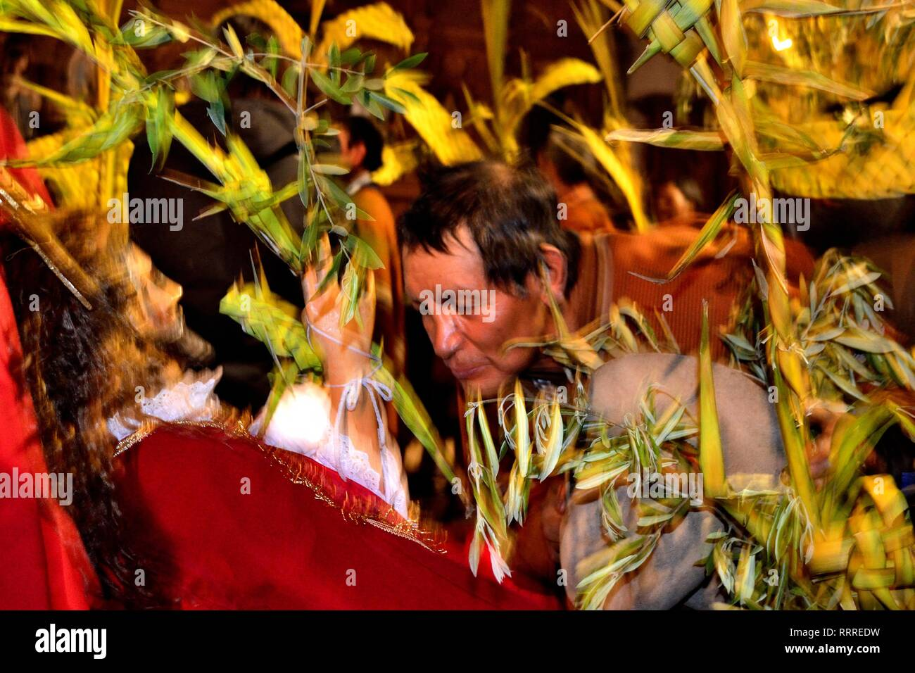 Mass - Palm Sunday in CHACAS - National park HUASCARAN. Department of Ancash.PERU            											  					  			 	  	  			 	    	 - Stock Image