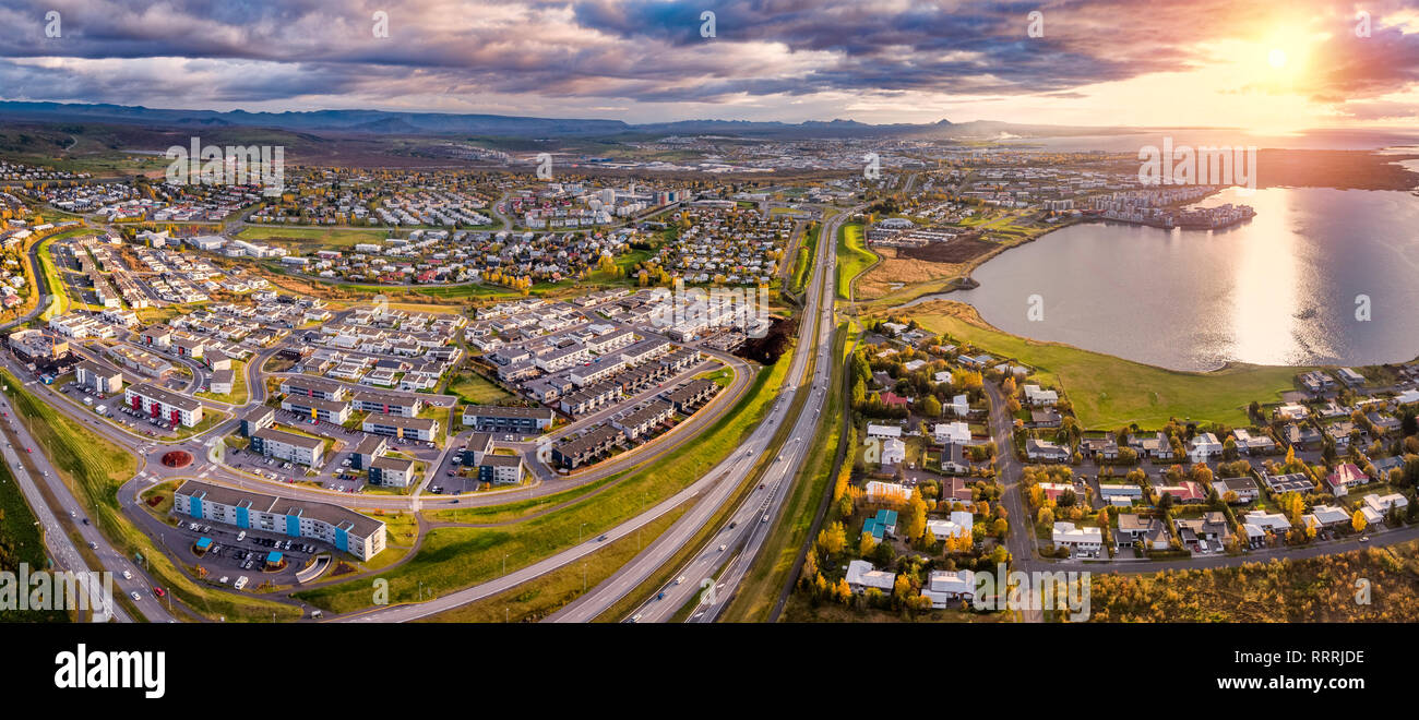 Aerial-Suburbs of Reykjavik in the Autumn, Iceland - Stock Image