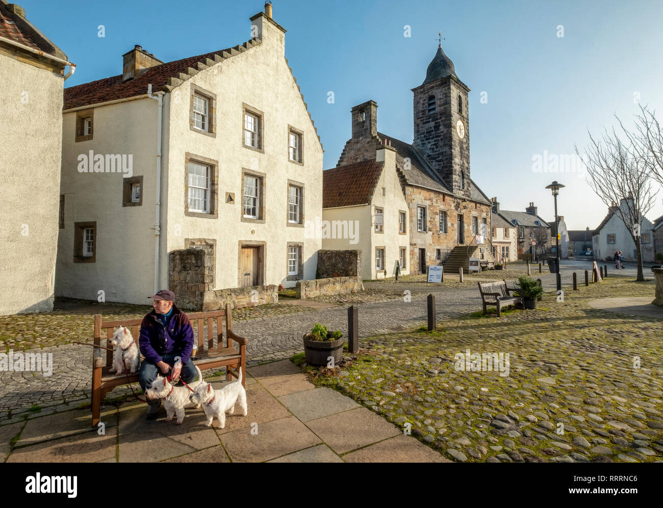A man with three West Highland Terriers sitting on a bench in the historic village of Culross, Fife, Scotland. - Stock Image