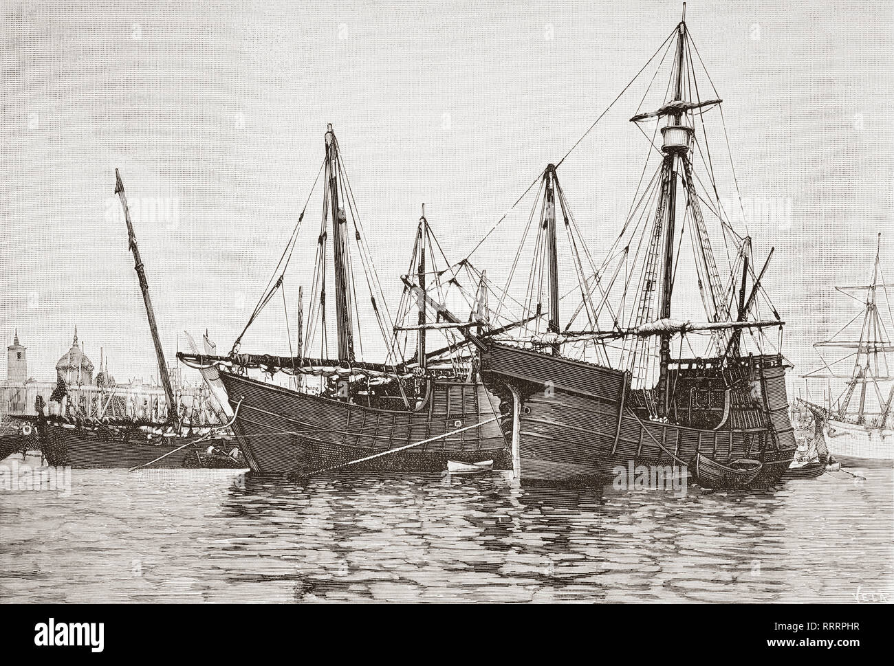 Replicas of La Nina and La Pinta ships. The original caravel-type vessels were used by Christopher Columbus in his first transatlantic voyage in 1492.  From La Ilustracion Artistica, published 1887. - Stock Image