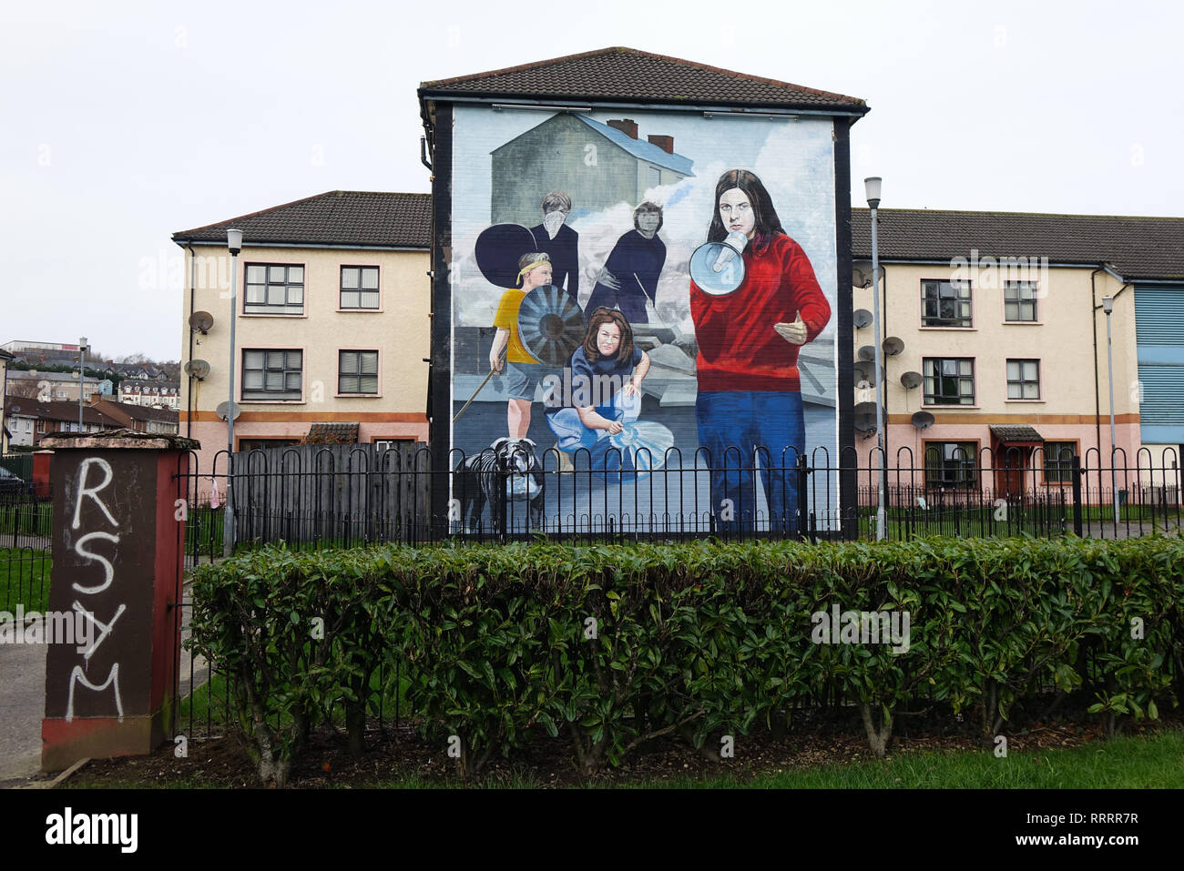 The Bogside in Derry, Northern Ireland - Stock Image
