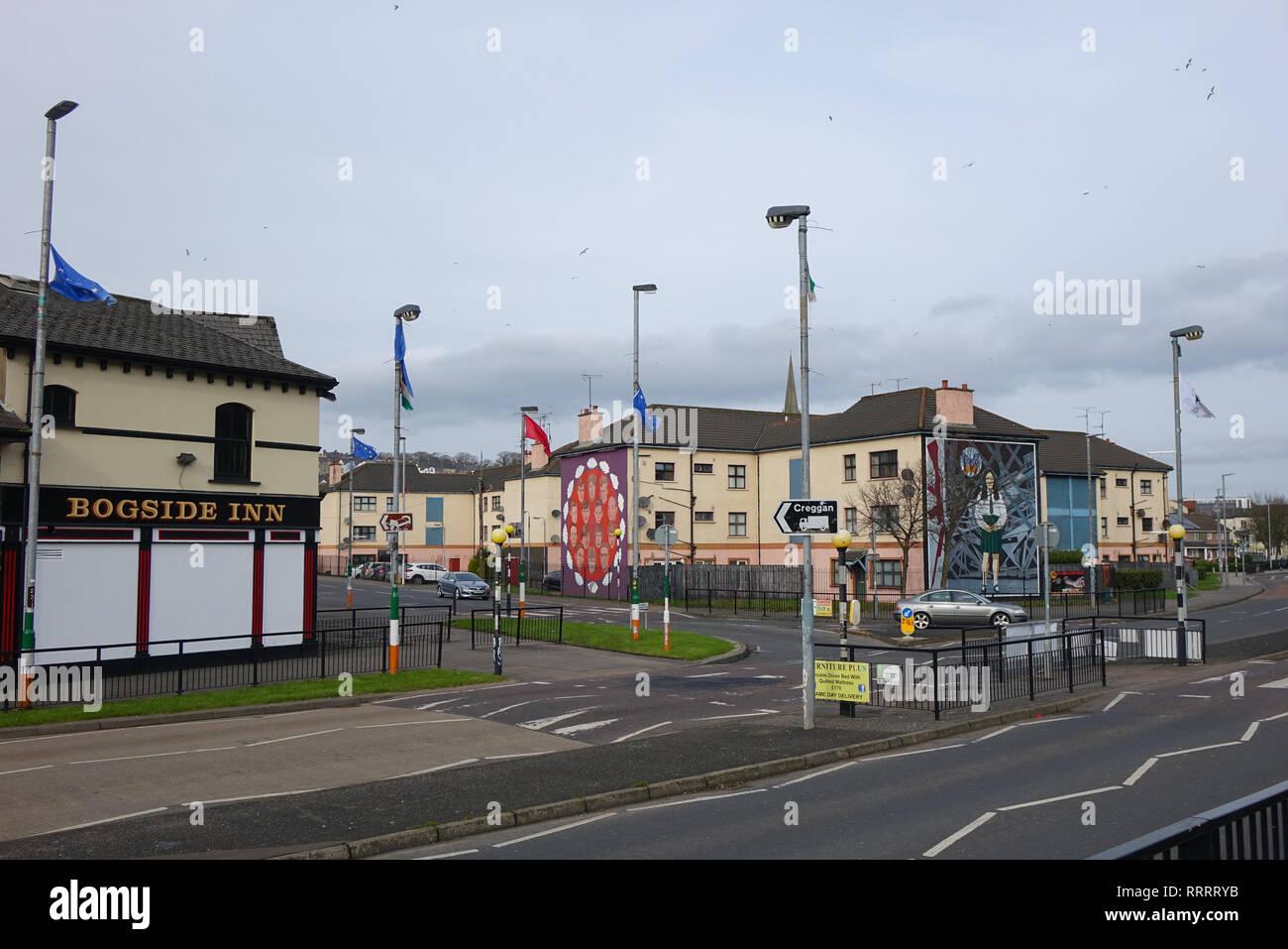 Bogside in Derry, Northern Ireland - Stock Image