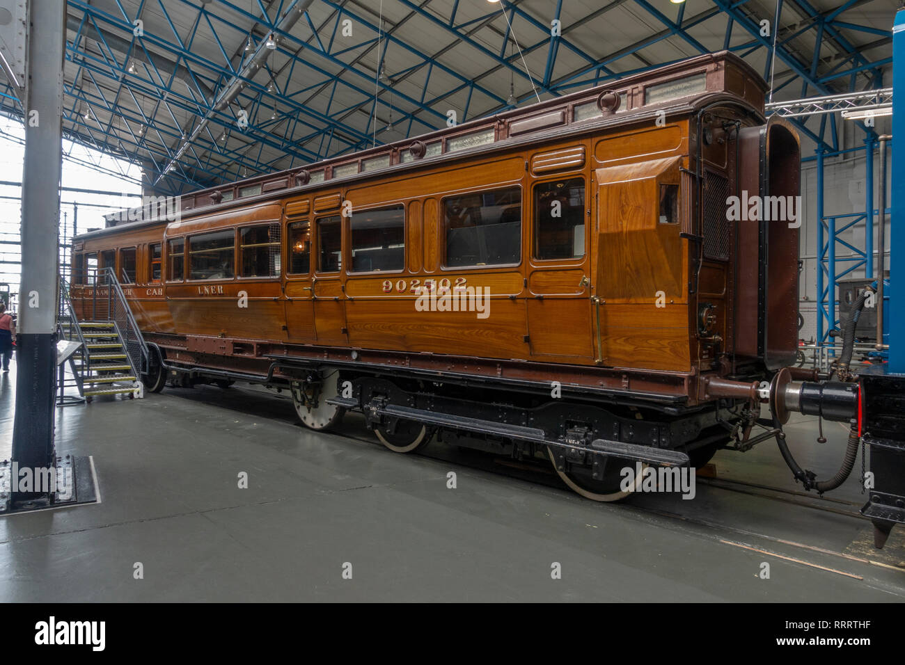 A North Eastern Railway Dynamometer car from 1906 on display in the National Railway Museum, York, UK. (See notes) - Stock Image