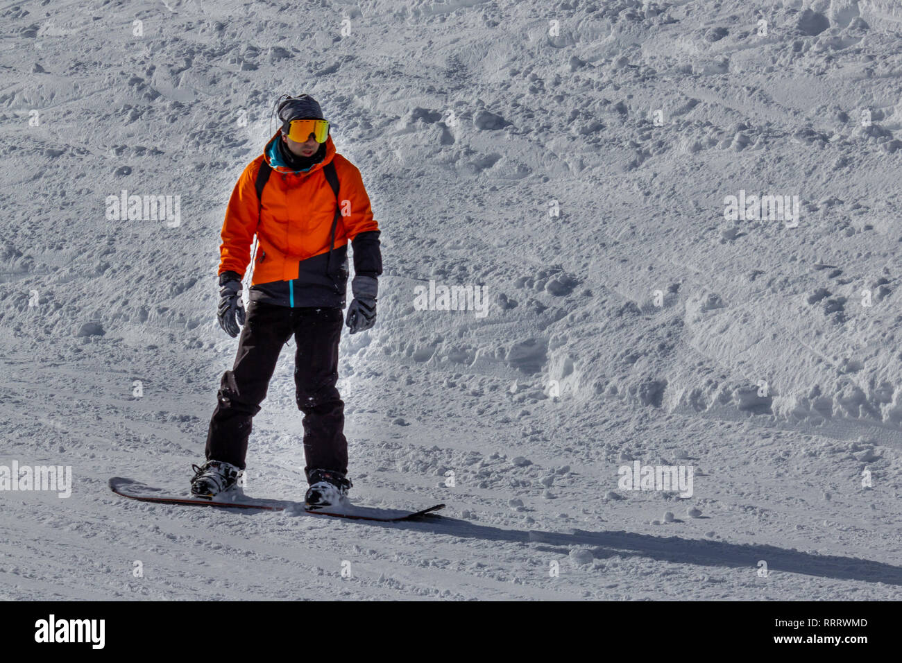 Man skiing with snowboard - Stock Image