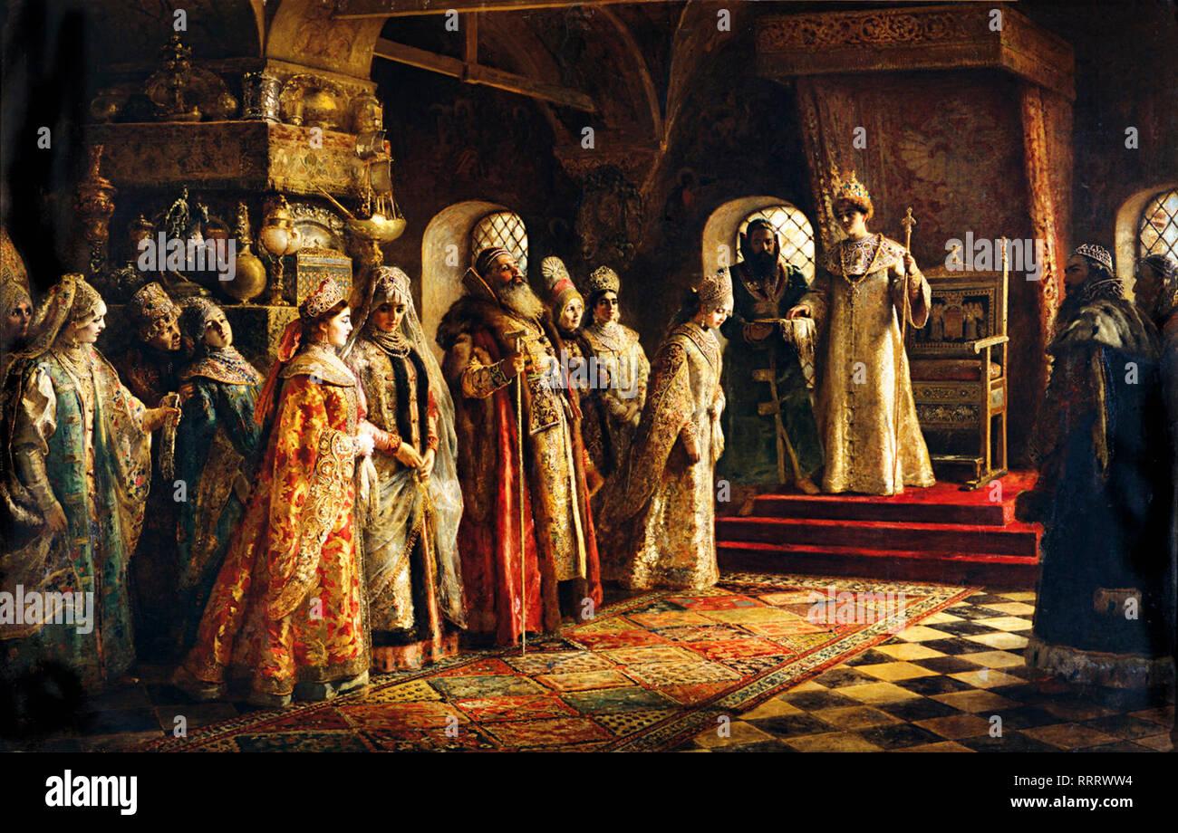 The choice of the bride Tsar Alexei Mikhailovich - Konstantin Makovsky - Stock Image