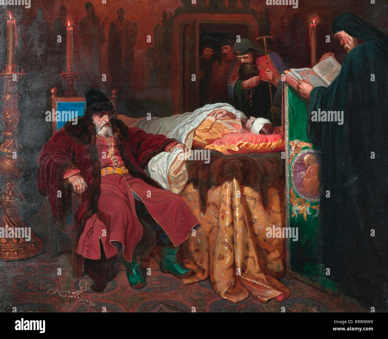 Ivan the Terrible next to the Body of the Son He Has Killed - Vyacheslav Schwarz, 1864 - Stock Image