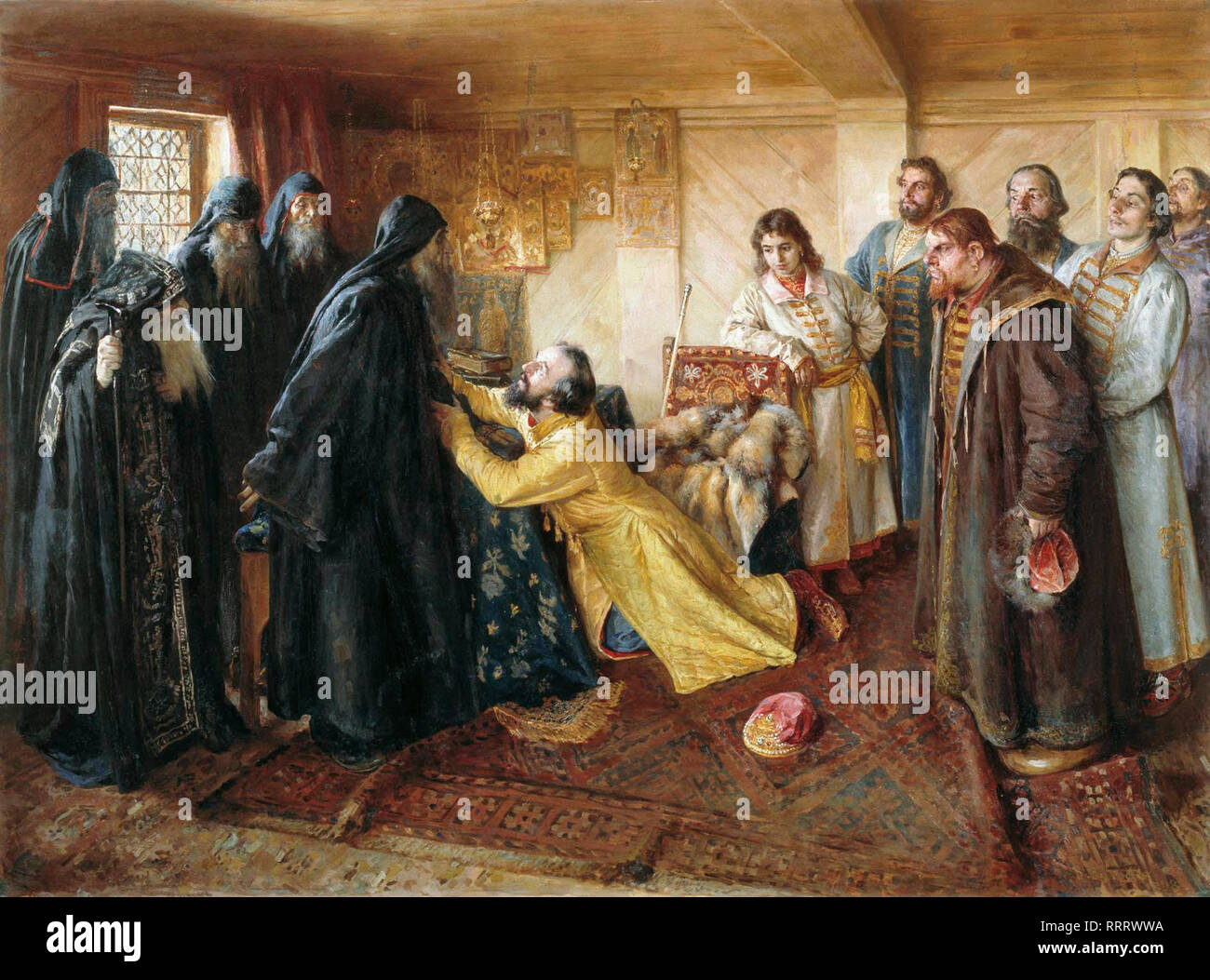 Tsar Ivan the Terrible asks hiegumen Kornily to admit him into monks - Klavdy Lebedev - Stock Image