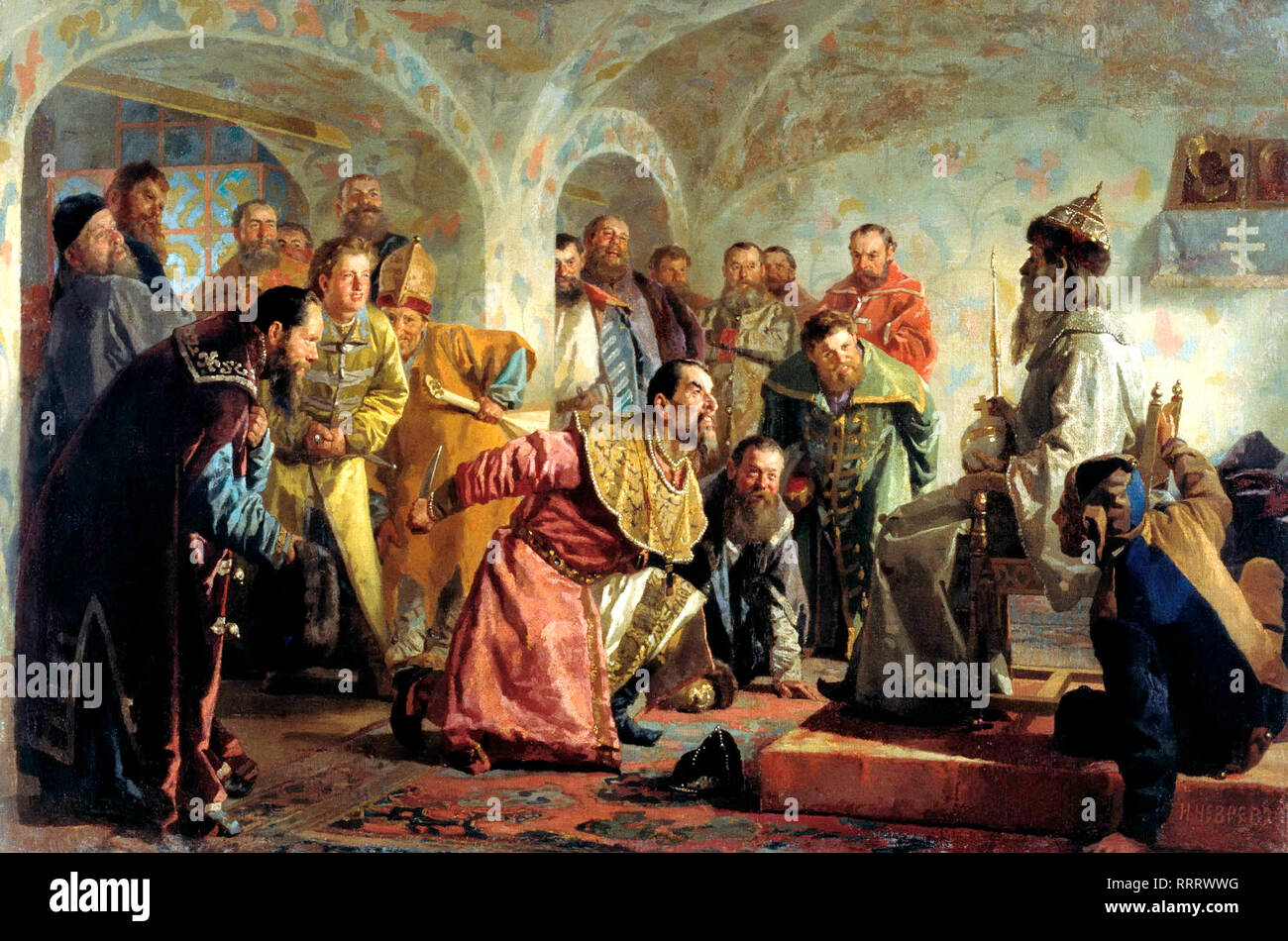 The Oprichniki by Nikolai Nevrev. The painting shows the last minutes of boyarin Feodorov, arrested for treason. To mock his alleged ambitions on the Tsar's title, the nobleman was given Tsar's regalia before execution. - Stock Image