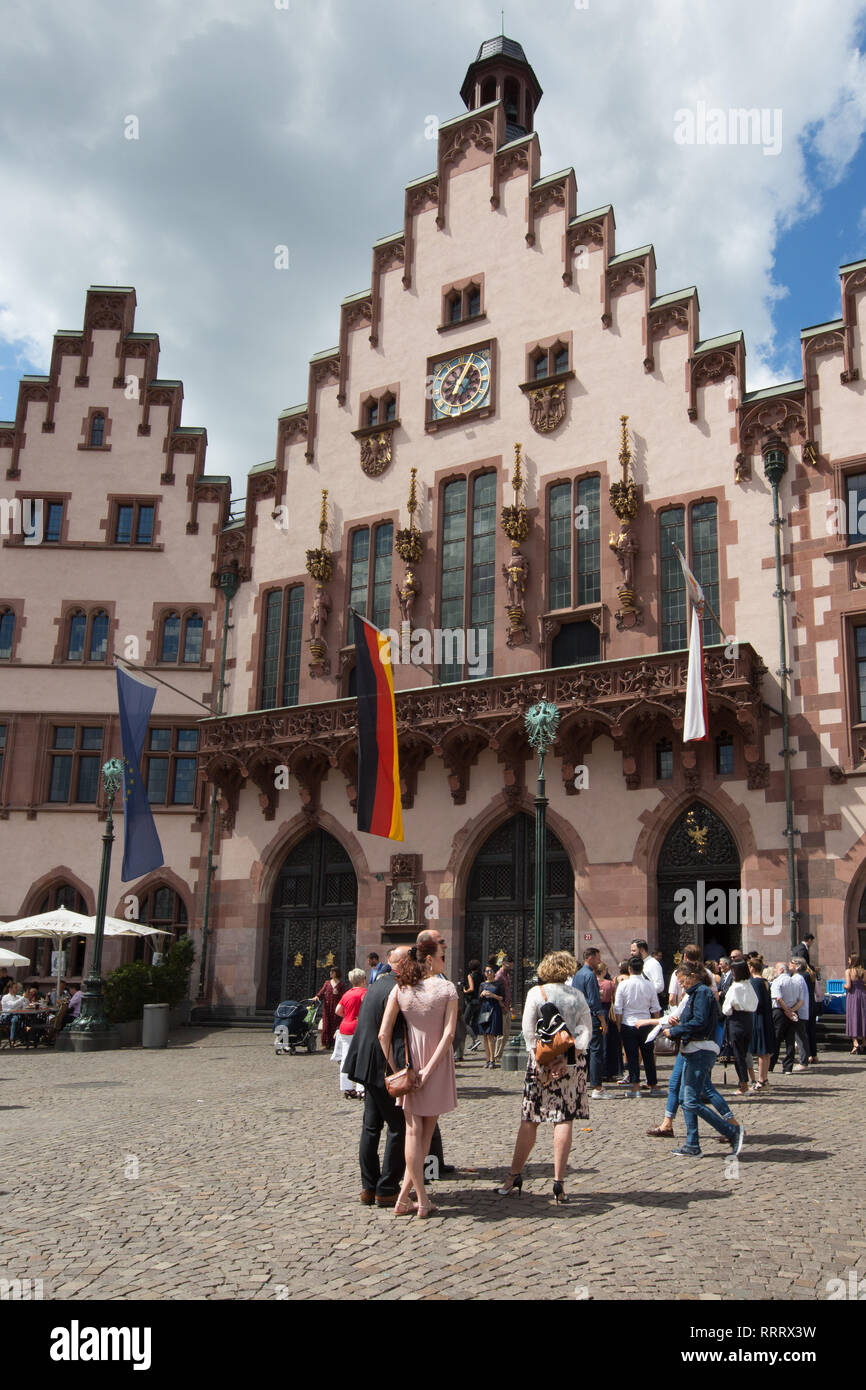 Europe Germany Hesse Rhine-Main Frankfurt Historic Old Town Römer Stock Photo