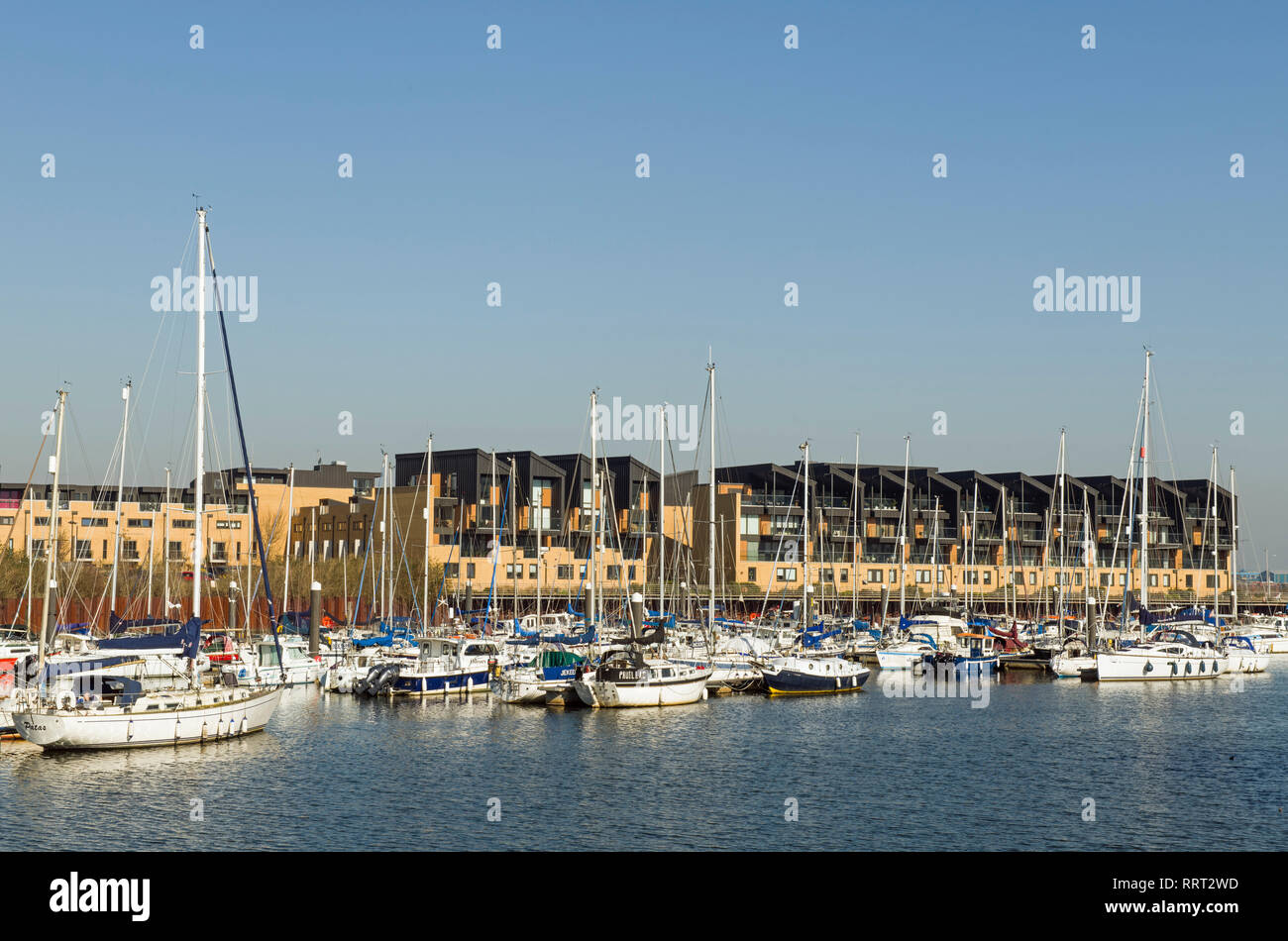 The Marina on the River Ely at Cardiff Bay, South Wales on a bright and sunny February afternoon Stock Photo