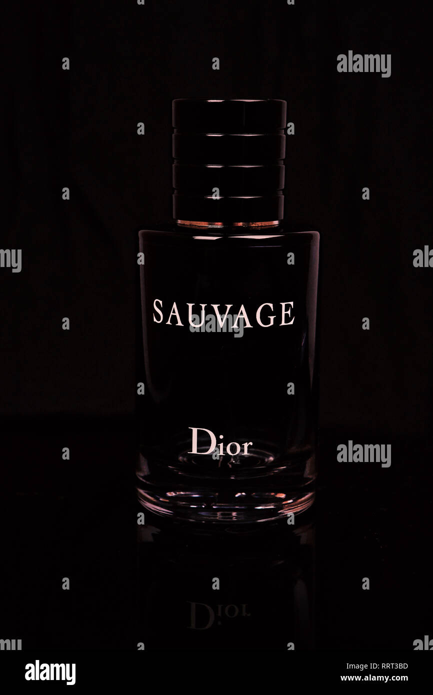 Bottle of perfume Christian Dior Sauvage for men. France - Stock Image