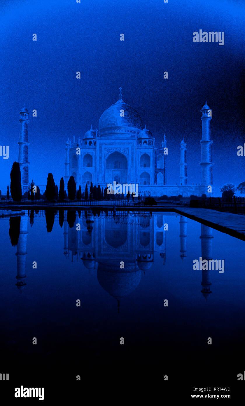 Blue, light, Shah Jahan, Mumtaz Mahal, Taj Mahal,  Agra, Uttar Pradesh, India, - Stock Image