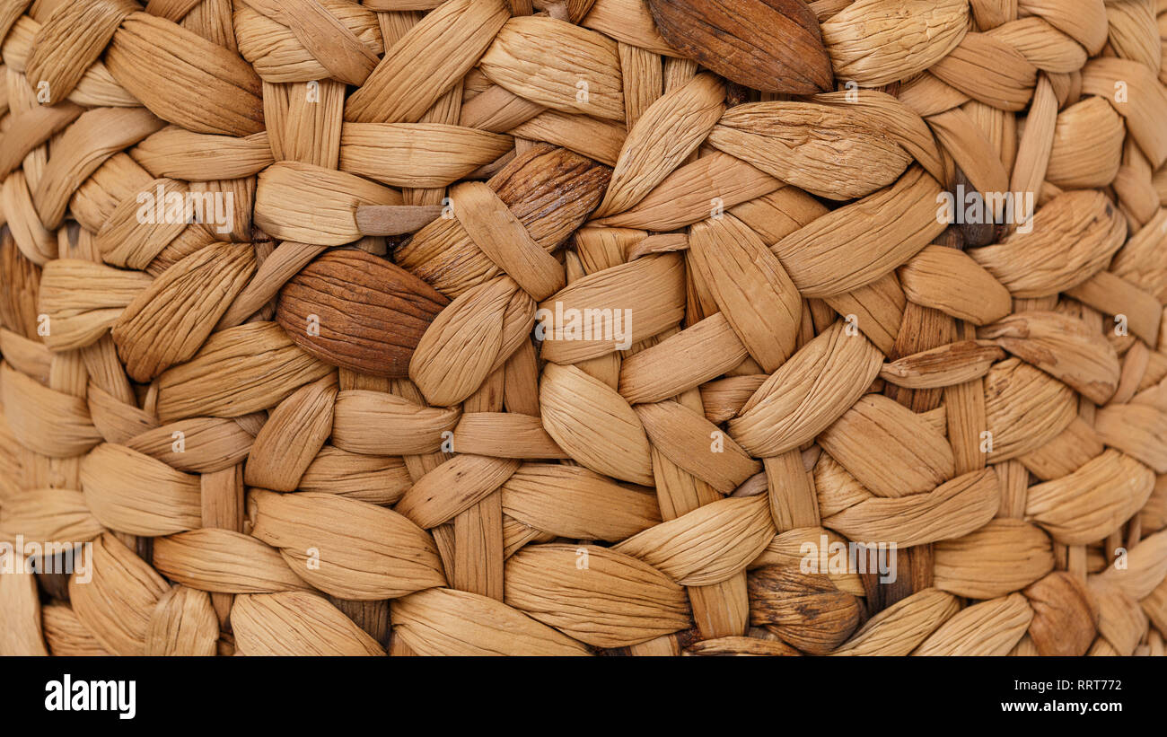 Handmade rattan texture for background, empty space - Stock Image