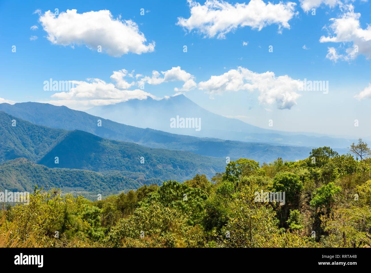 Volcano Scenery Landscape around lake Atitlan in the Highlands of Guatemala - Stock Image