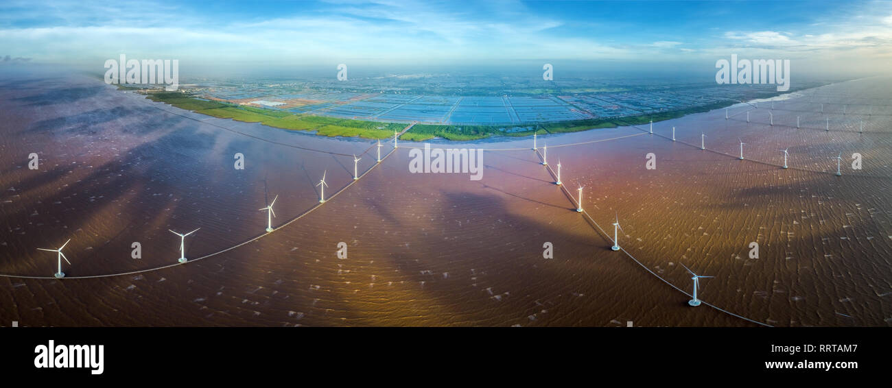 Aerial view of the wind turbine factory on the sea, Bac Lieu, Viet Nam - Stock Image