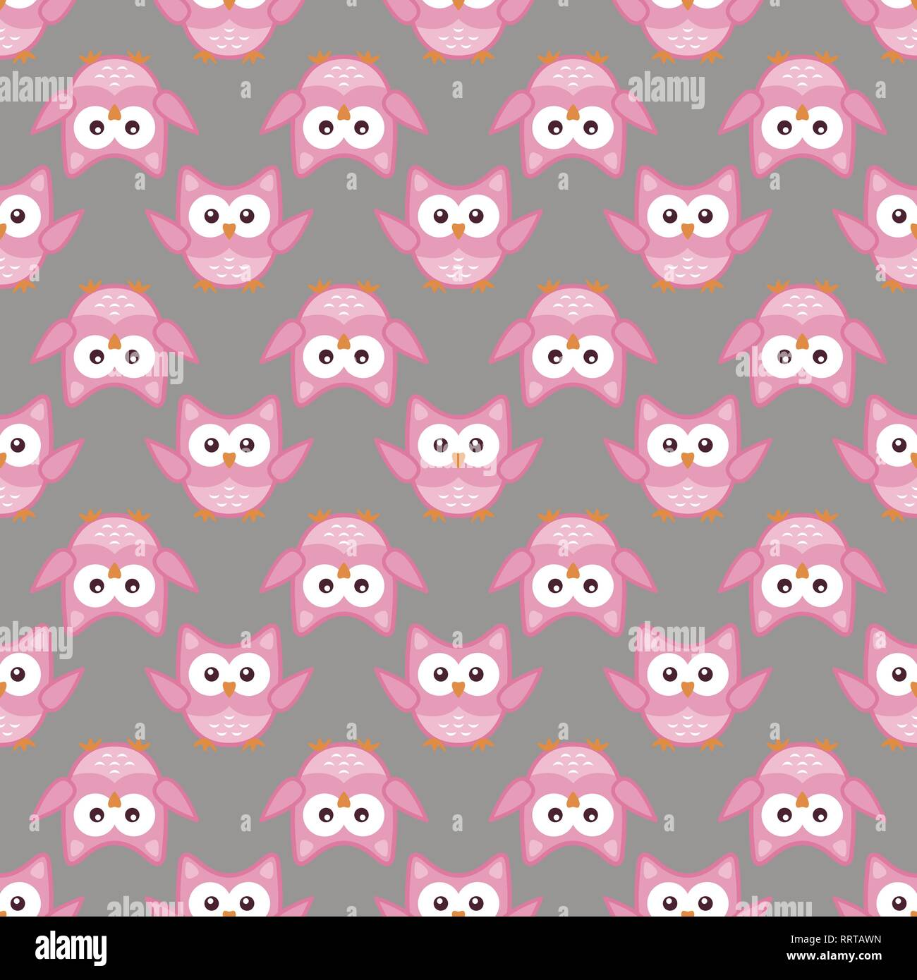 Owl stylized art seemless pattern pink gray colors - Stock Vector
