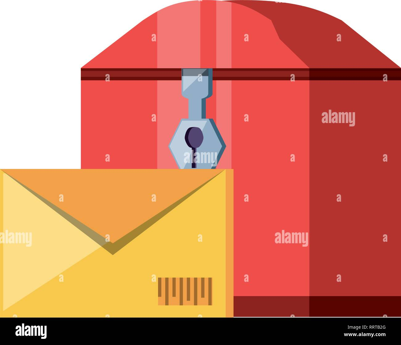 mail box with envelope delivery service vector illustration design - Stock Image