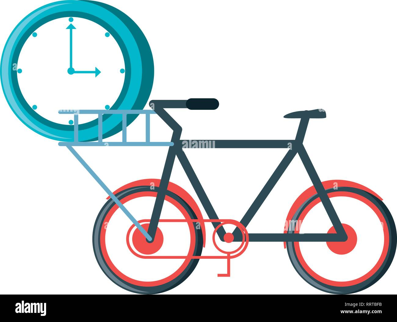 bicycle vehicle with clock time vector illustration design - Stock Vector