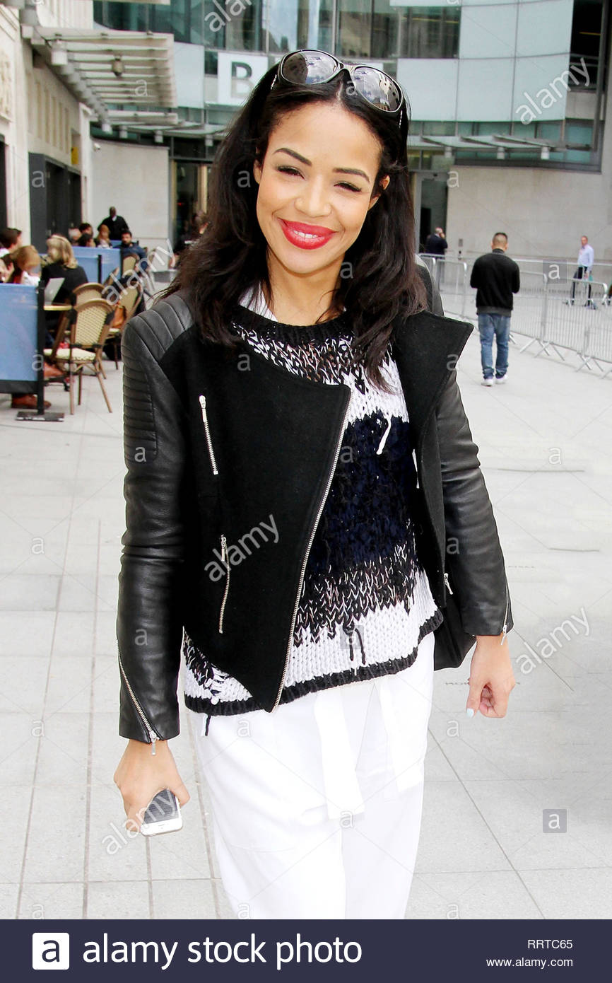 Usa Only London Uk English Tv And Radio Presenter Sarah Jane Crawford Smiles Cheerfully As She Makes Her Way Out Of The Bbc Studios In London