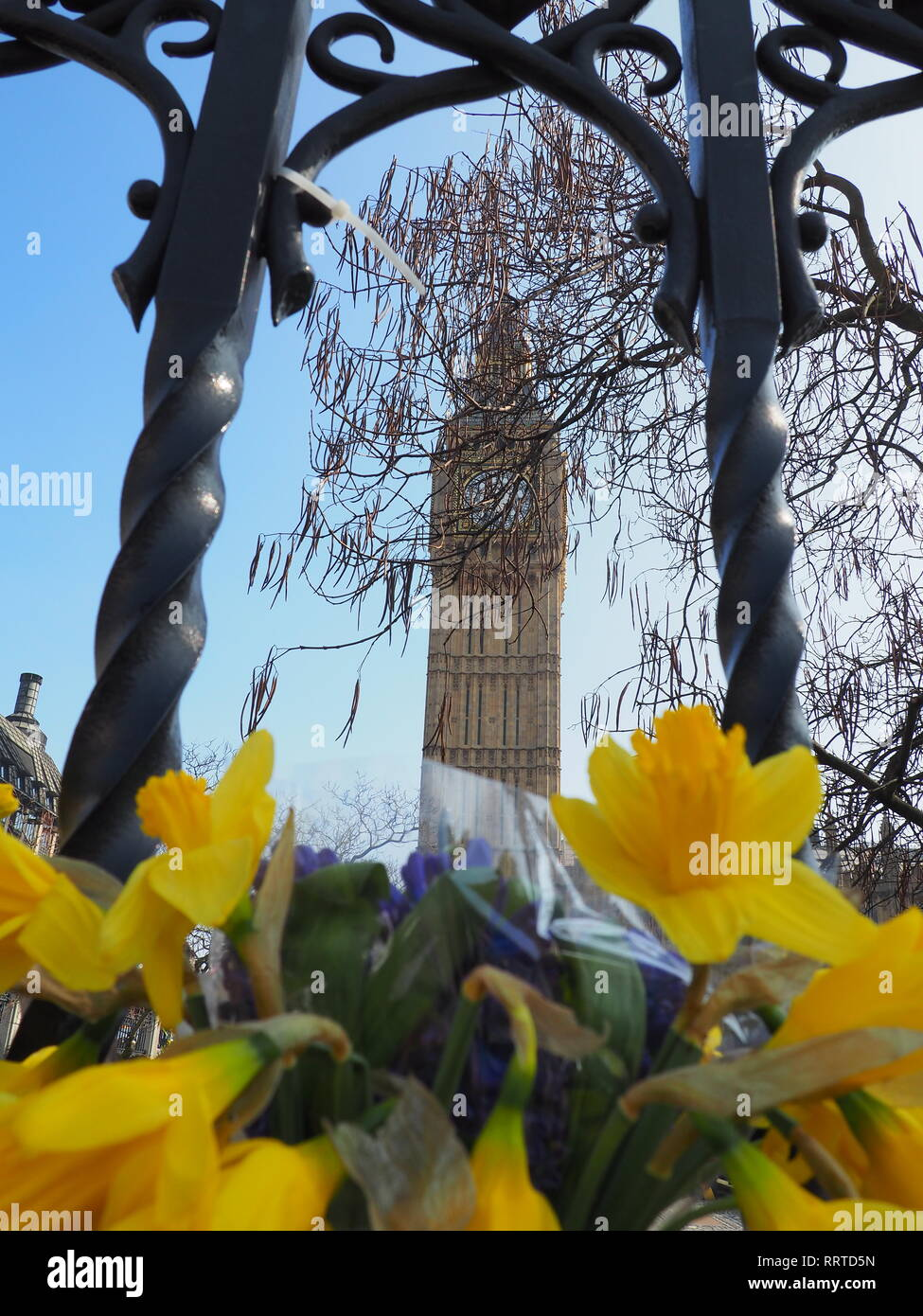 Flowers outside Westminster after the terrorist attack in March 2017 - London - Stock Image