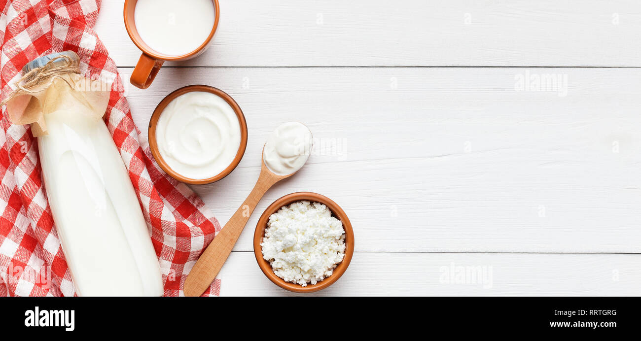 Dairy products composition, top view, copy space - Stock Image