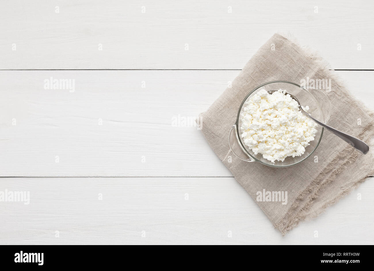 Bowl of cottage cheese - Stock Image