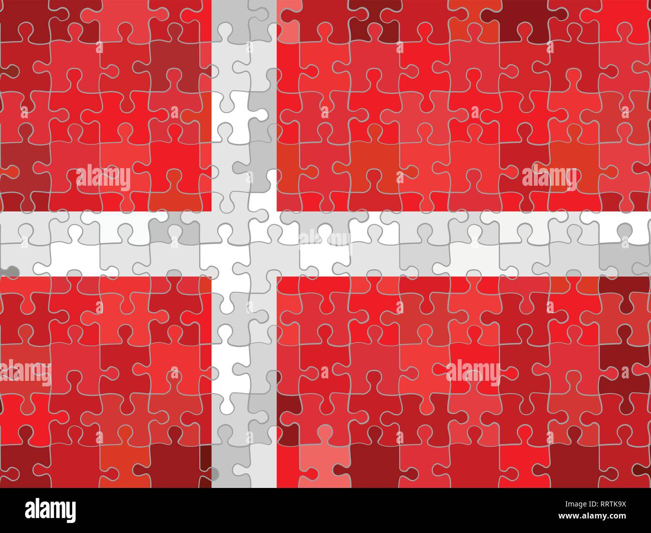 Denmark flag made of puzzle background - Illustration - Stock Vector