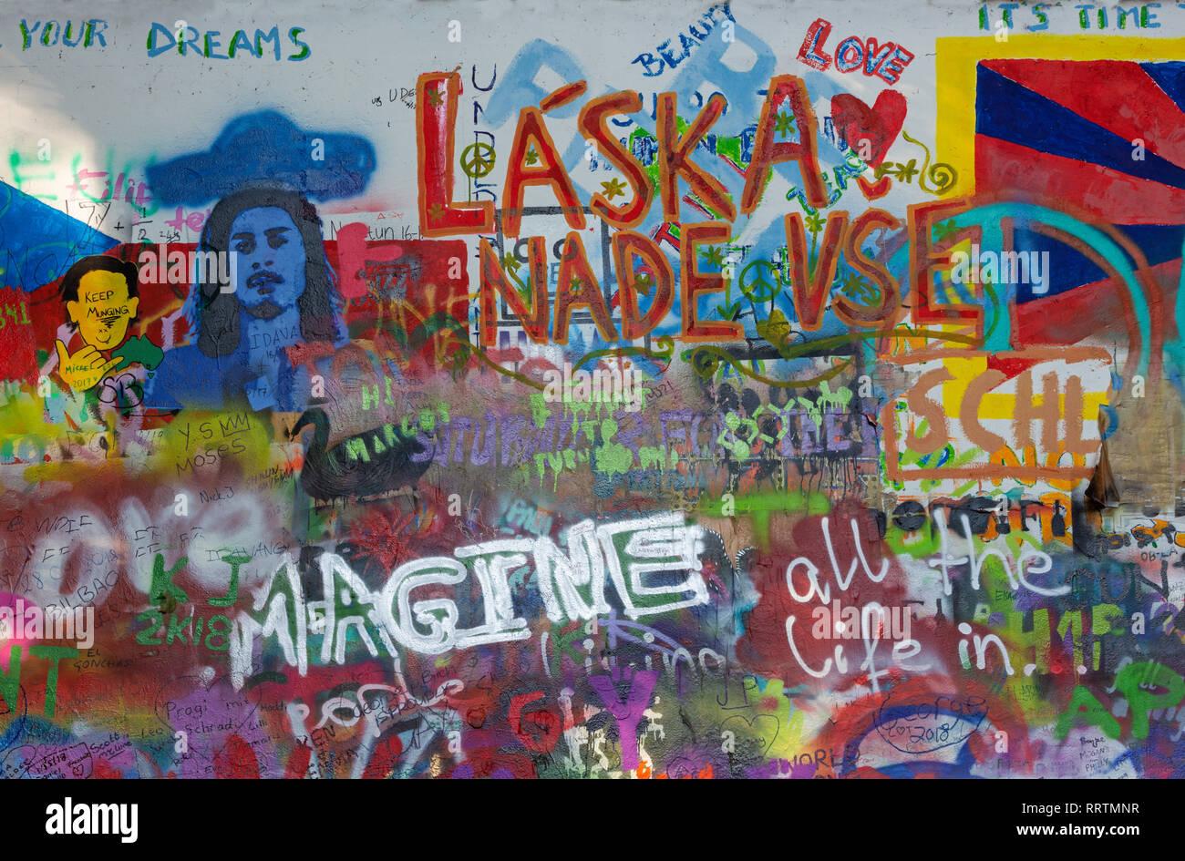 PRAGUE, CZECH REPUBLIC - OCTOBER 12, 2018:  Detail of John Lennon Peace Wall created in 1980. - Stock Image