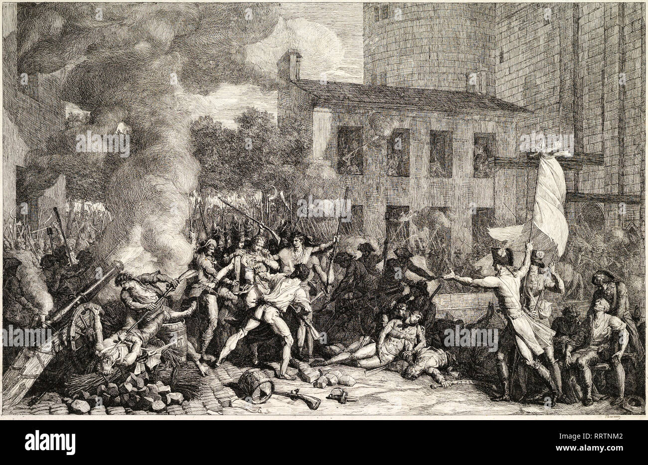 Charles Thevenin, The Storming of the Bastille on 14 July 1789, c. 1793, etching, French revolution print - Stock Image