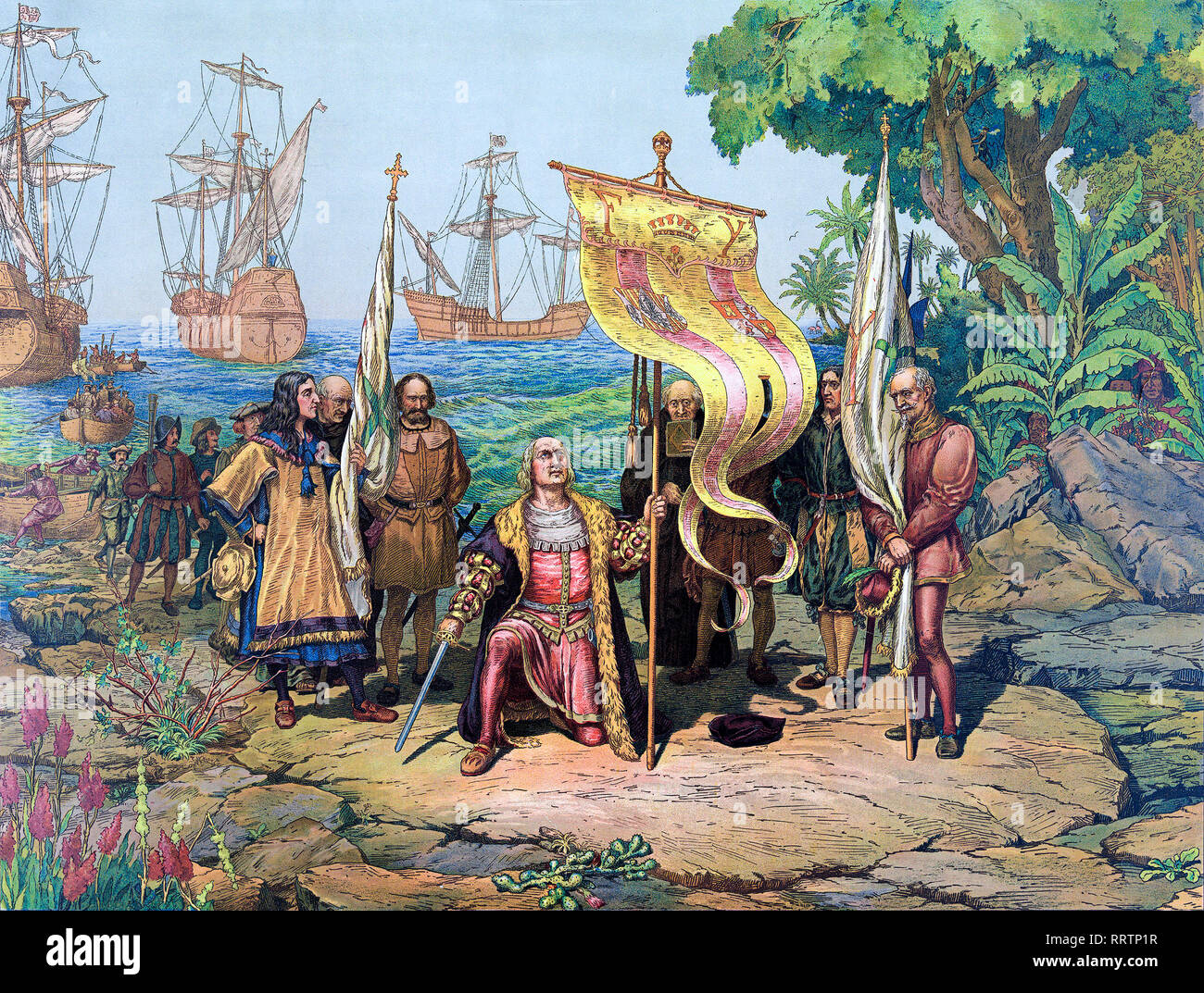 Christoper Columbus arrives in America, Prang & Co., Boston, 1893, coloured drawing, print - Stock Image
