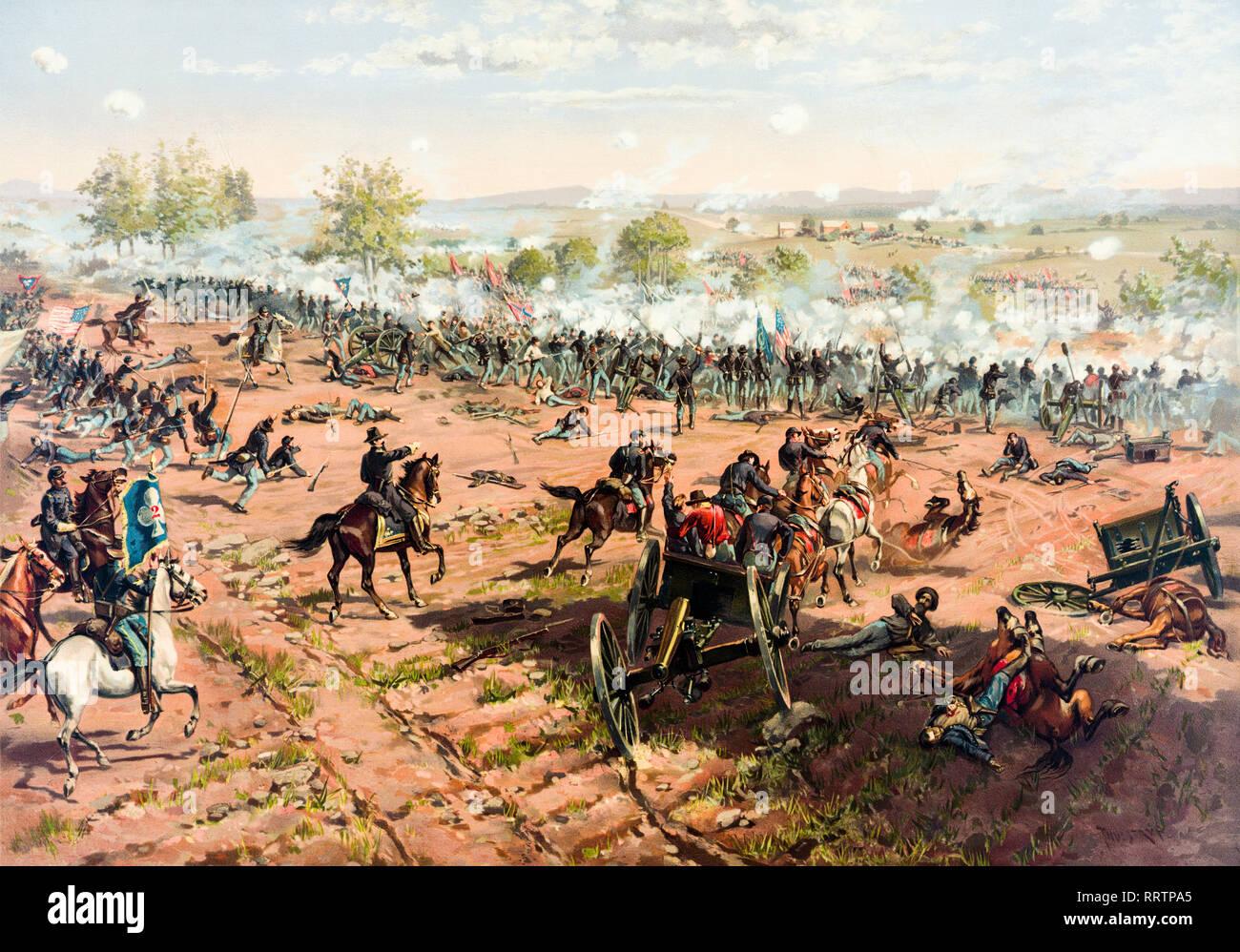 Battle of Gettysburg, American Civil war, painting, 1867 - Stock Image
