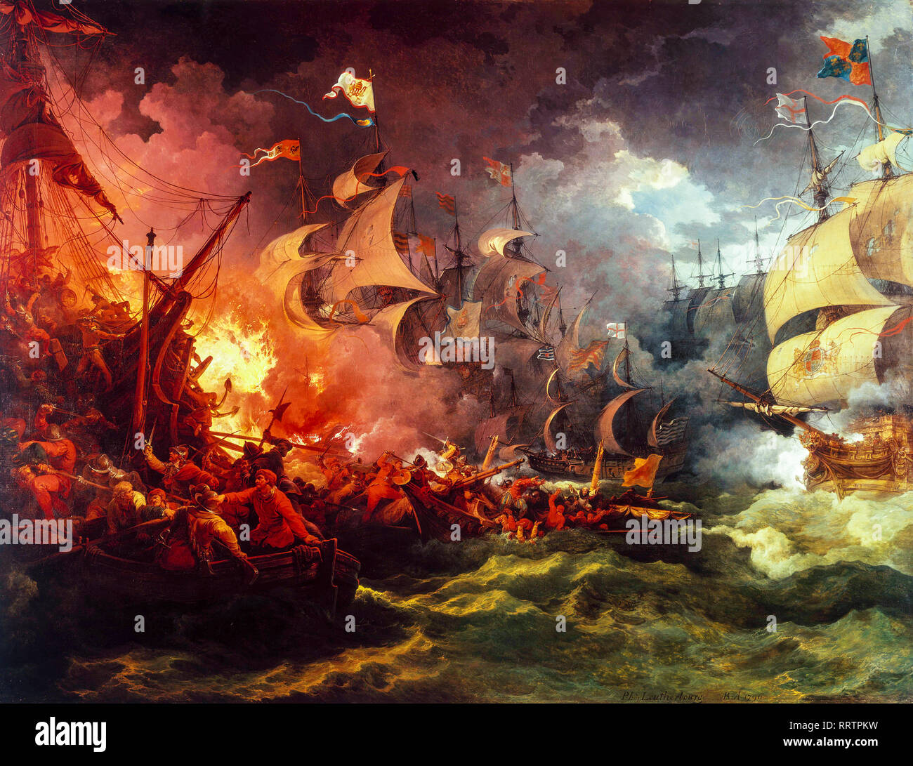 Defeat of the Spanish Armada, 8 August 1588, Philip James de Loutherbourg, painting, 1796 - Stock Image