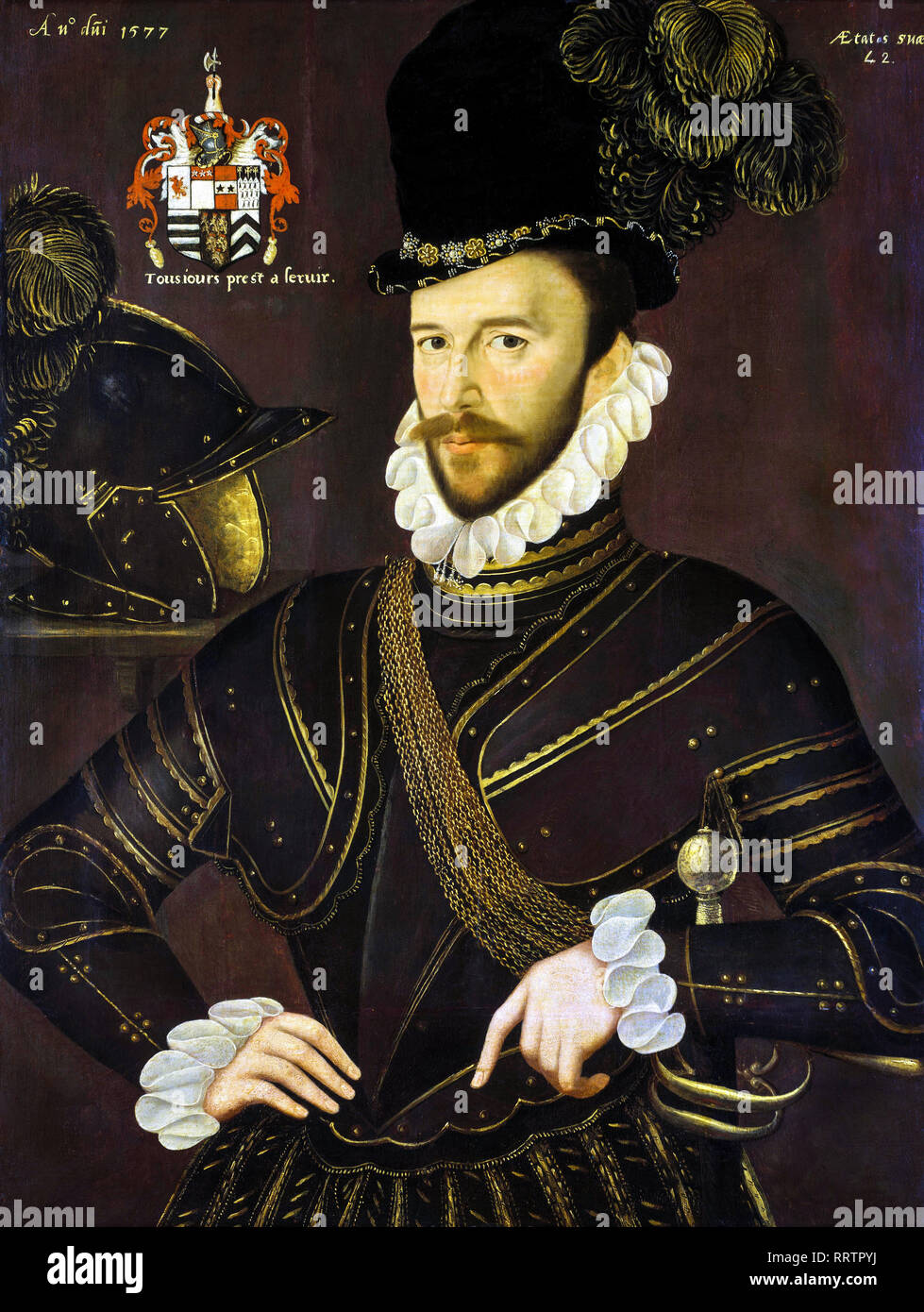 Richard Drake (1535-1603), portrait painting, circa 1577 - Stock Image