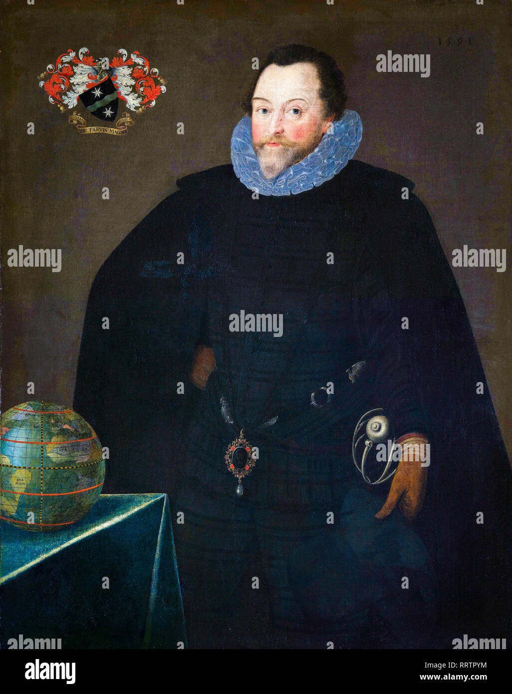 Sir Francis Drake (1540-96), portrait painting, 1591 - Stock Image