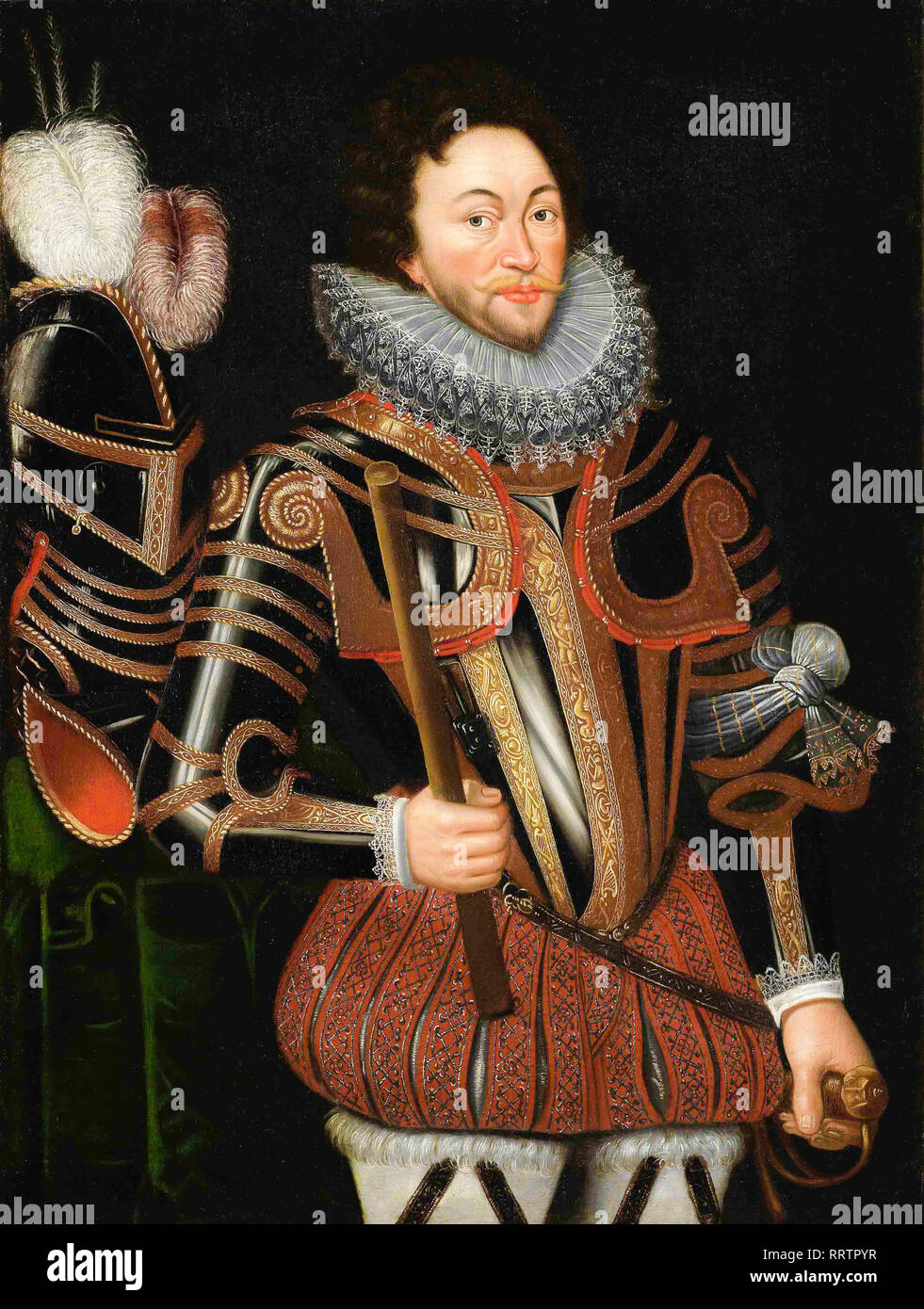 Sir Francis Drake (1540-96), portrait painting, 16th Century - Stock Image