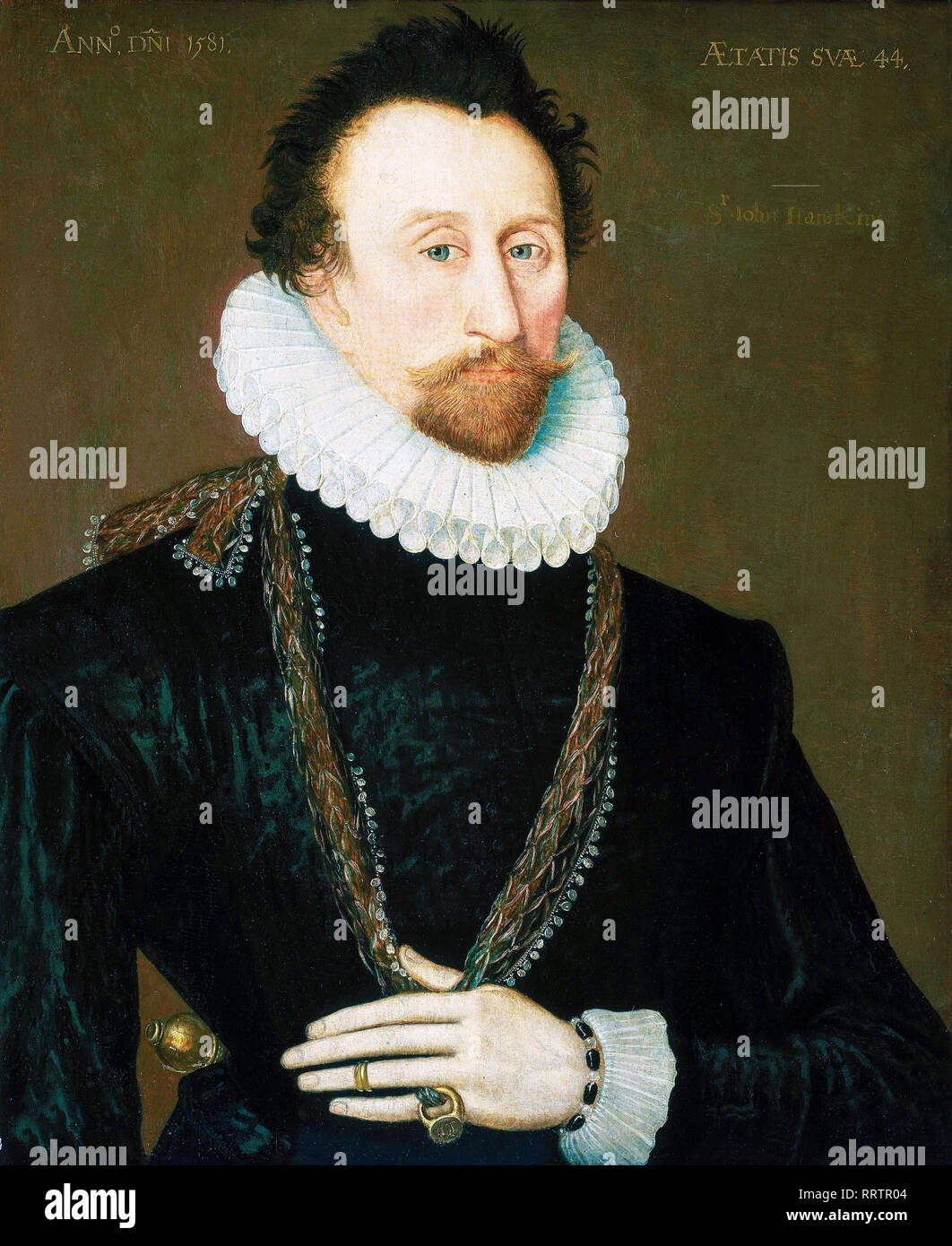 Sir John Hawkins (1532-95), portrait painting, 1581 - Stock Image